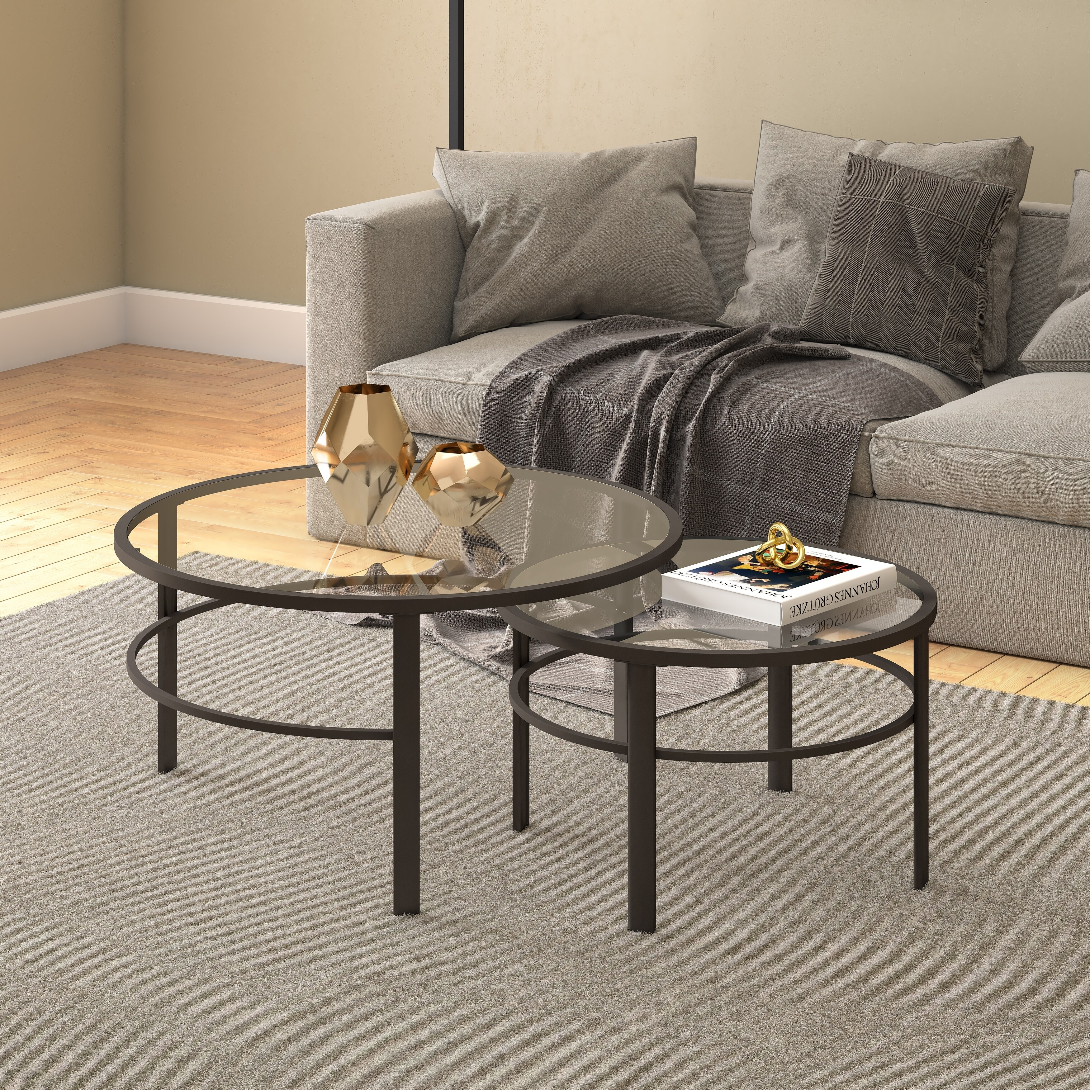Glass Nesting Tables Gaia Round Metal Tempered Glass Nesting Coffee Tables 2 Pc Set Optional Finishes