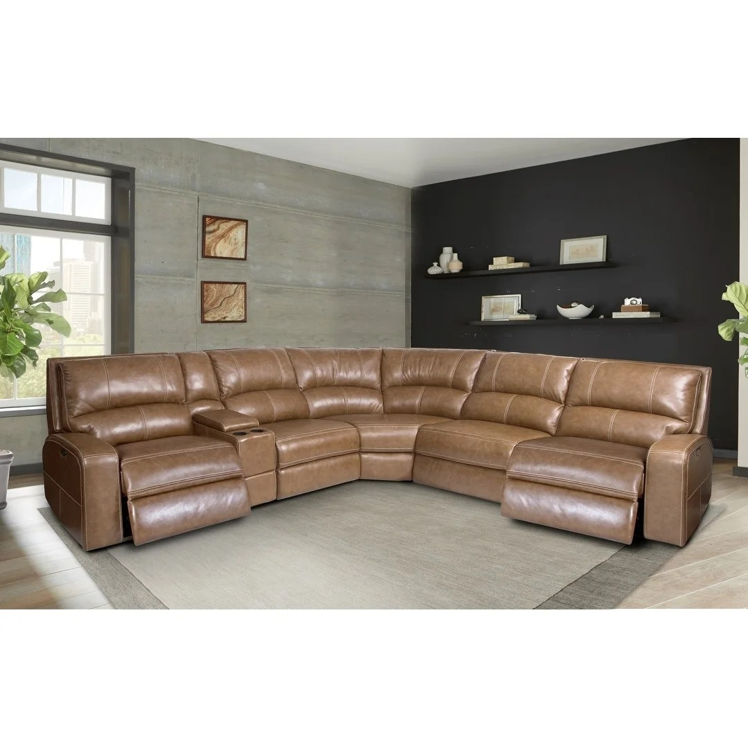 Leather Sectional Sofa Recliner Symon Caramel Top Grain Leather Power Reclining Sectional Sofa