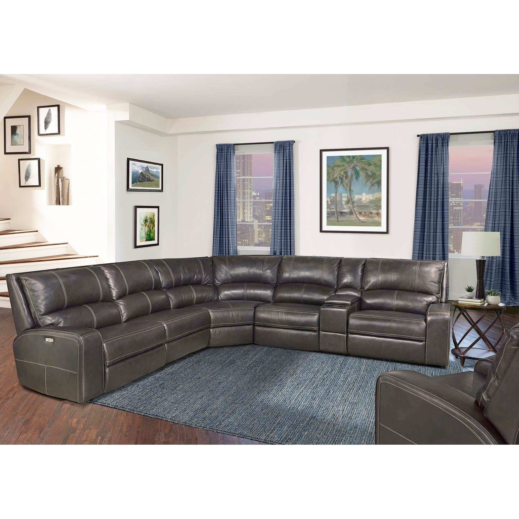 Leather Sectional Sofa Recliner Symon Grey Top Grain Leather Power Reclining Sectional Sofa