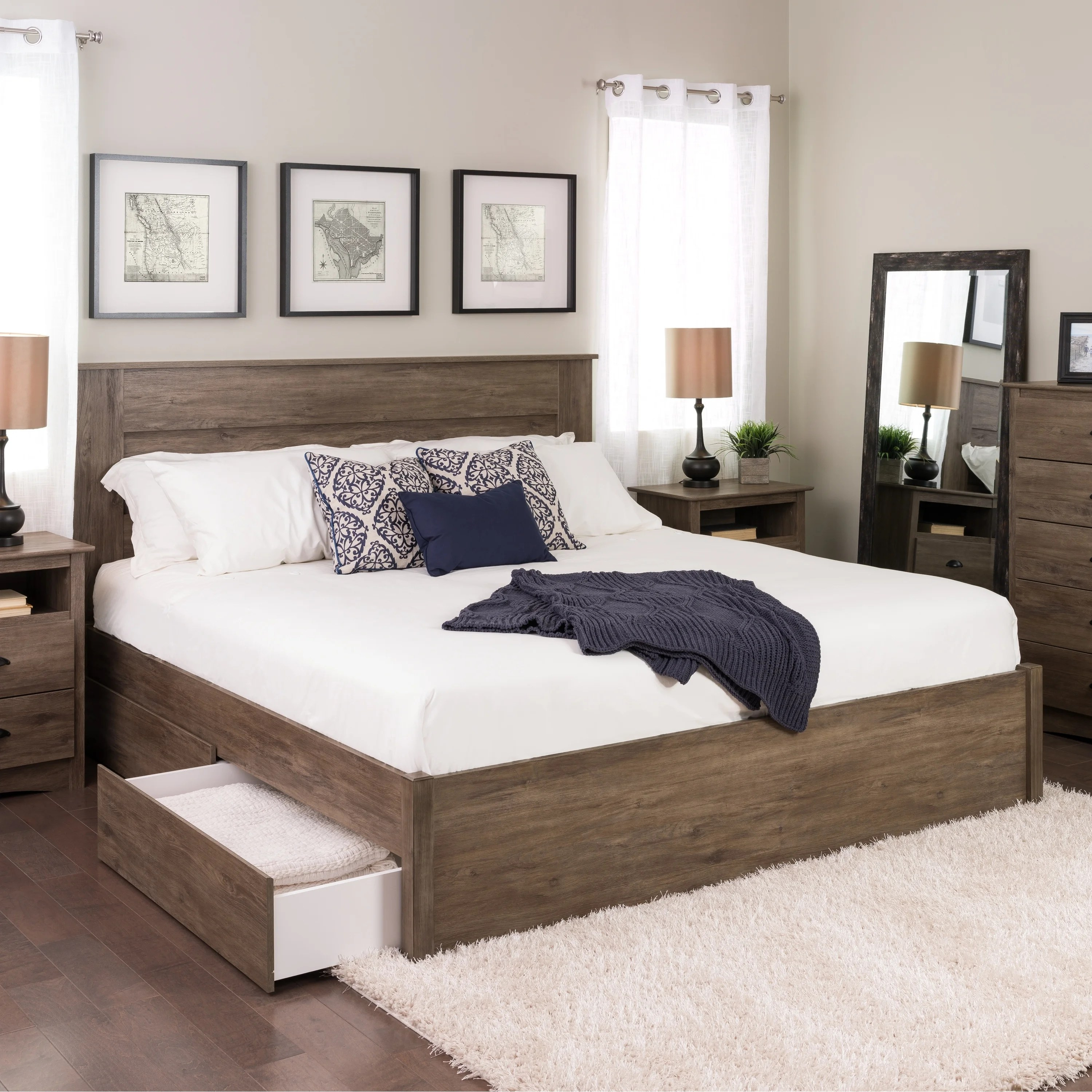 4post Bed Prepac Queen Select 4 Post Platform Bed With Optional Drawers