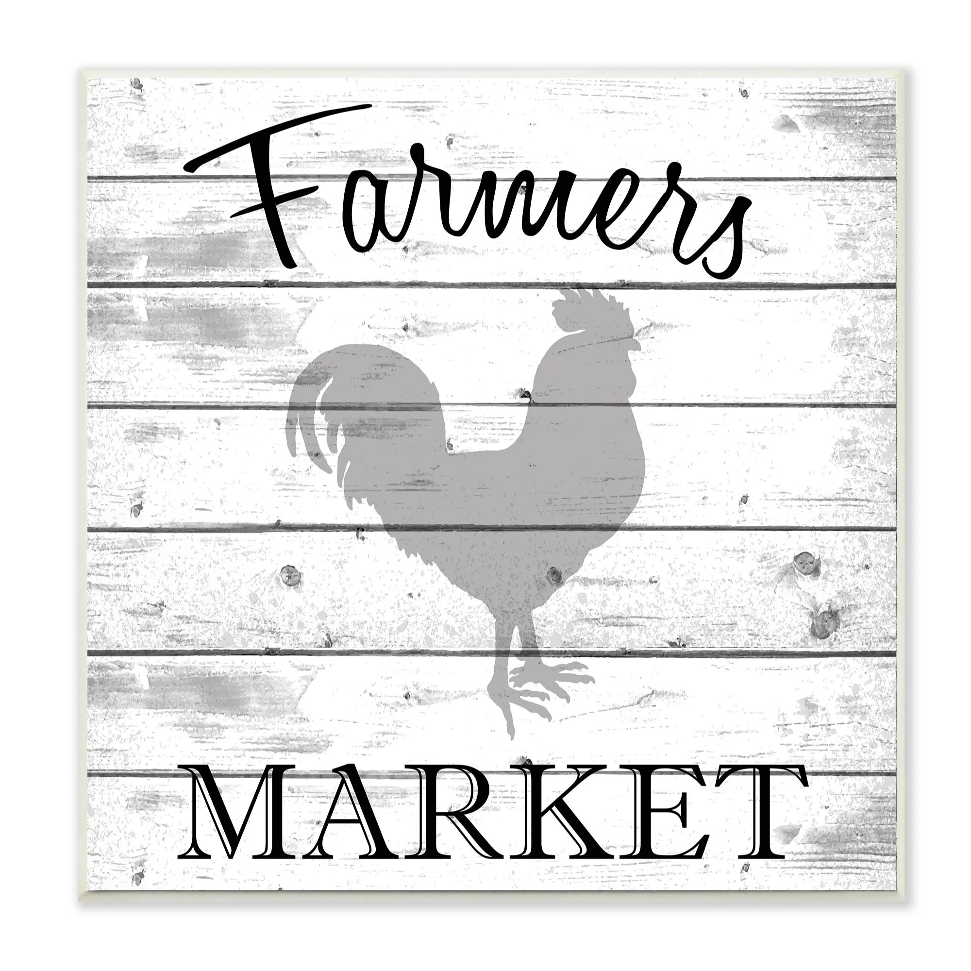 Home Decor Market The Stupell Home Decor Collection Farmers Market Rooster Grey And White Planked Look Wall Plaque 12 X 5 X 12 Made In Usa