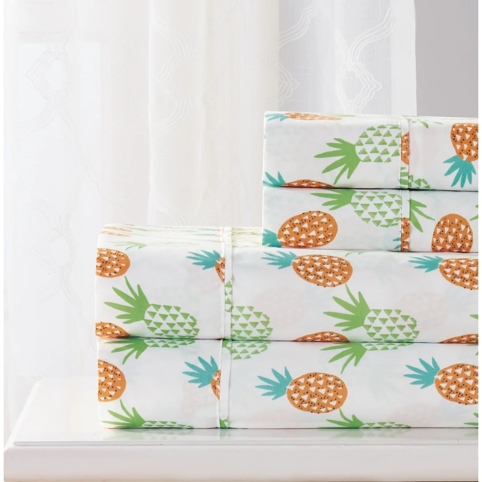 Printed Sheet Sets Rt Designers Collection Pineapple Printed Sheet Set