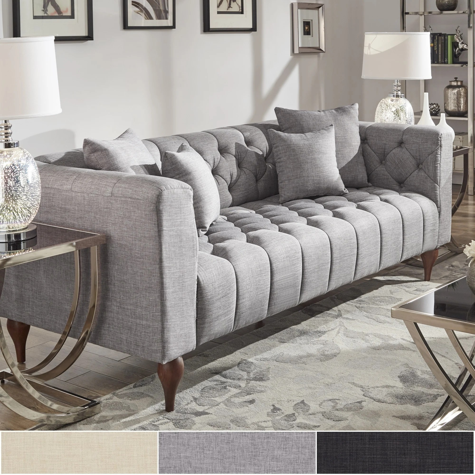 Couch Upholstery Fourways Danise Tufted Linen Upholstered Tuxedo Arm Sofa By Inspire Q Artisan