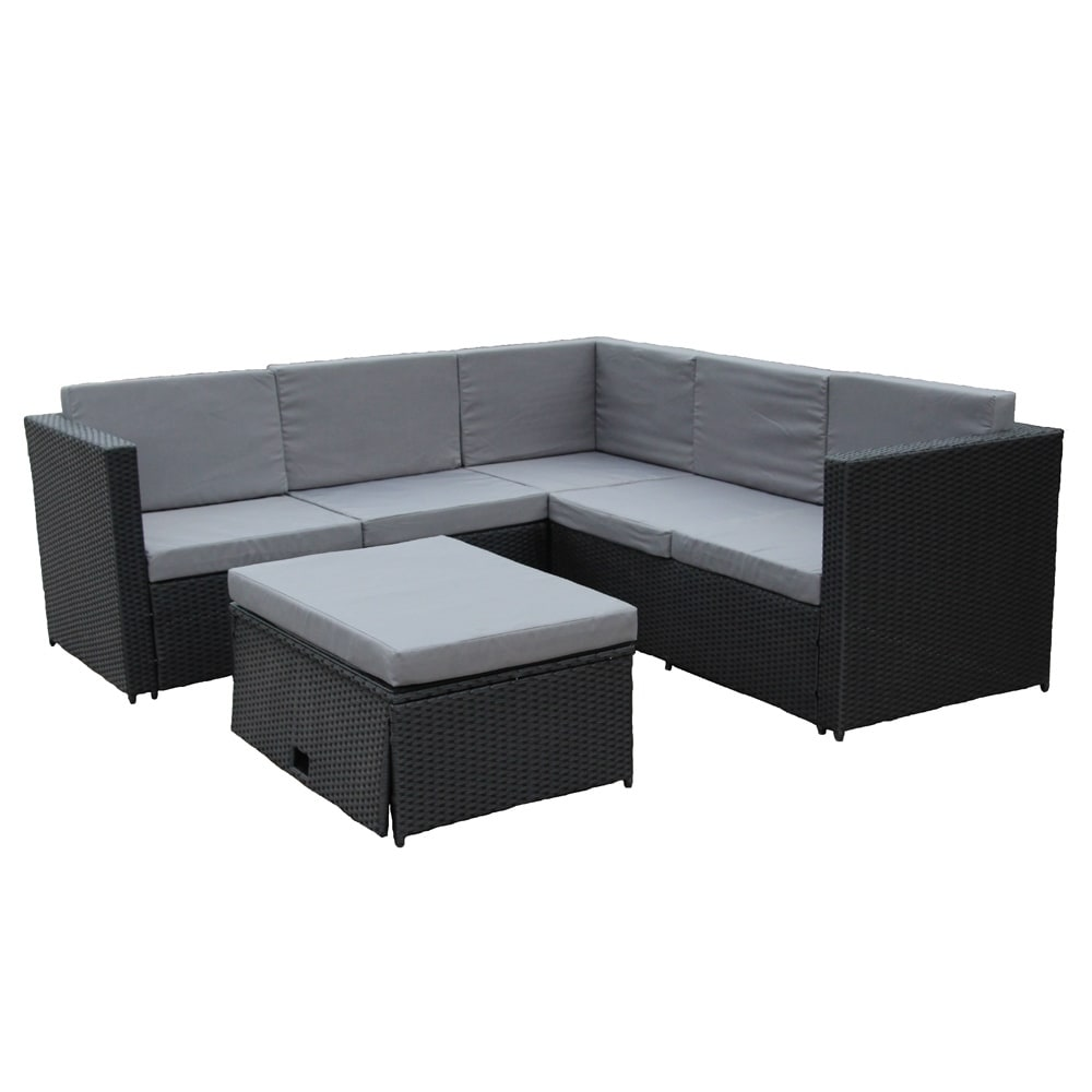 Rattan Sofa Corner Set Aleko Patio Rattan Furniture Corner Sofa Set With Storage Footstool