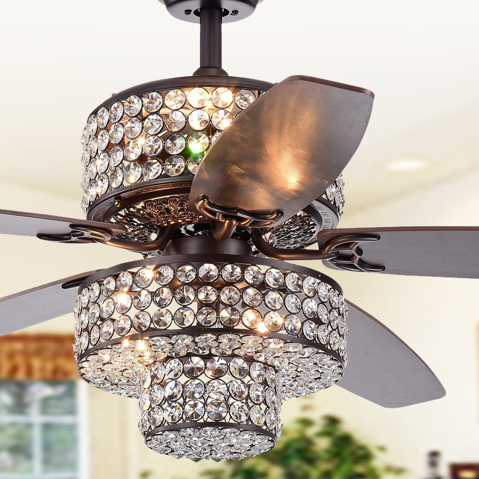 Rustic Ceiling Fan Light Fixtures Tierna 5 Blade 52 Inch Rustic Bronze Lighted Ceiling Fans Two Tiered Crystal Shade Remote Controlled 2 Color Option Blades
