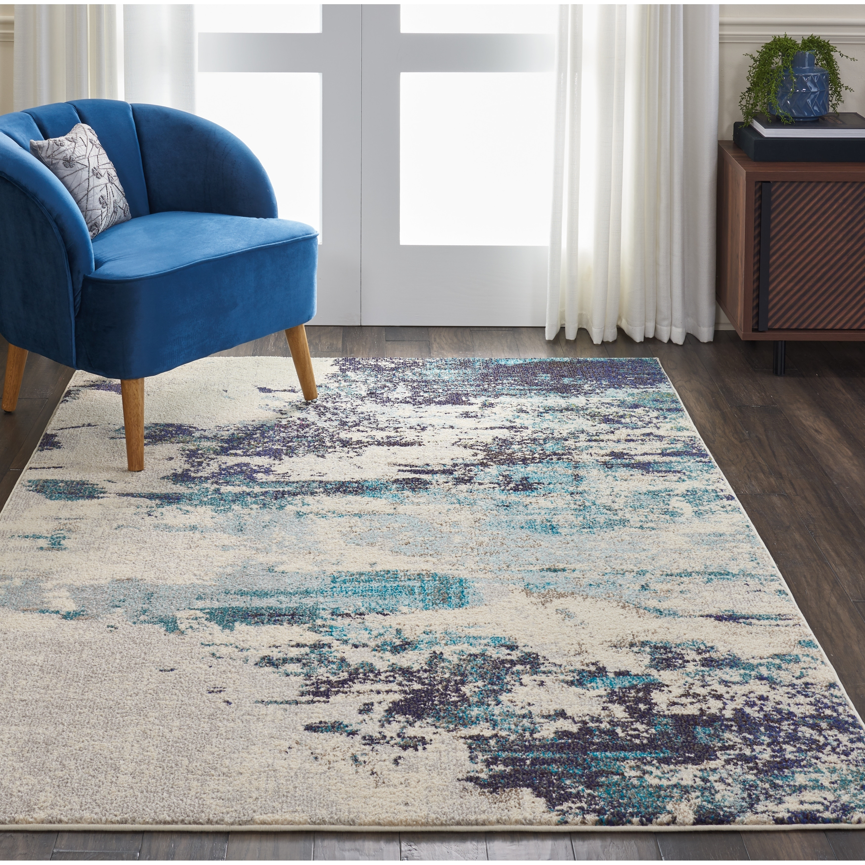 Teal Color Area Rugs Nourison Celestial Ivory Teal Blue Abstract Area Rug 5 3
