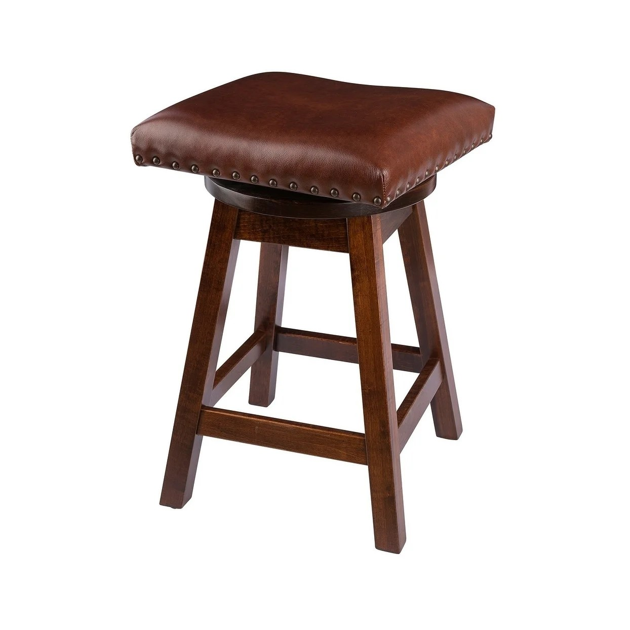 Swivel Urban Bar Stool In Maple Wood With Leather Seat Overstock 22670891