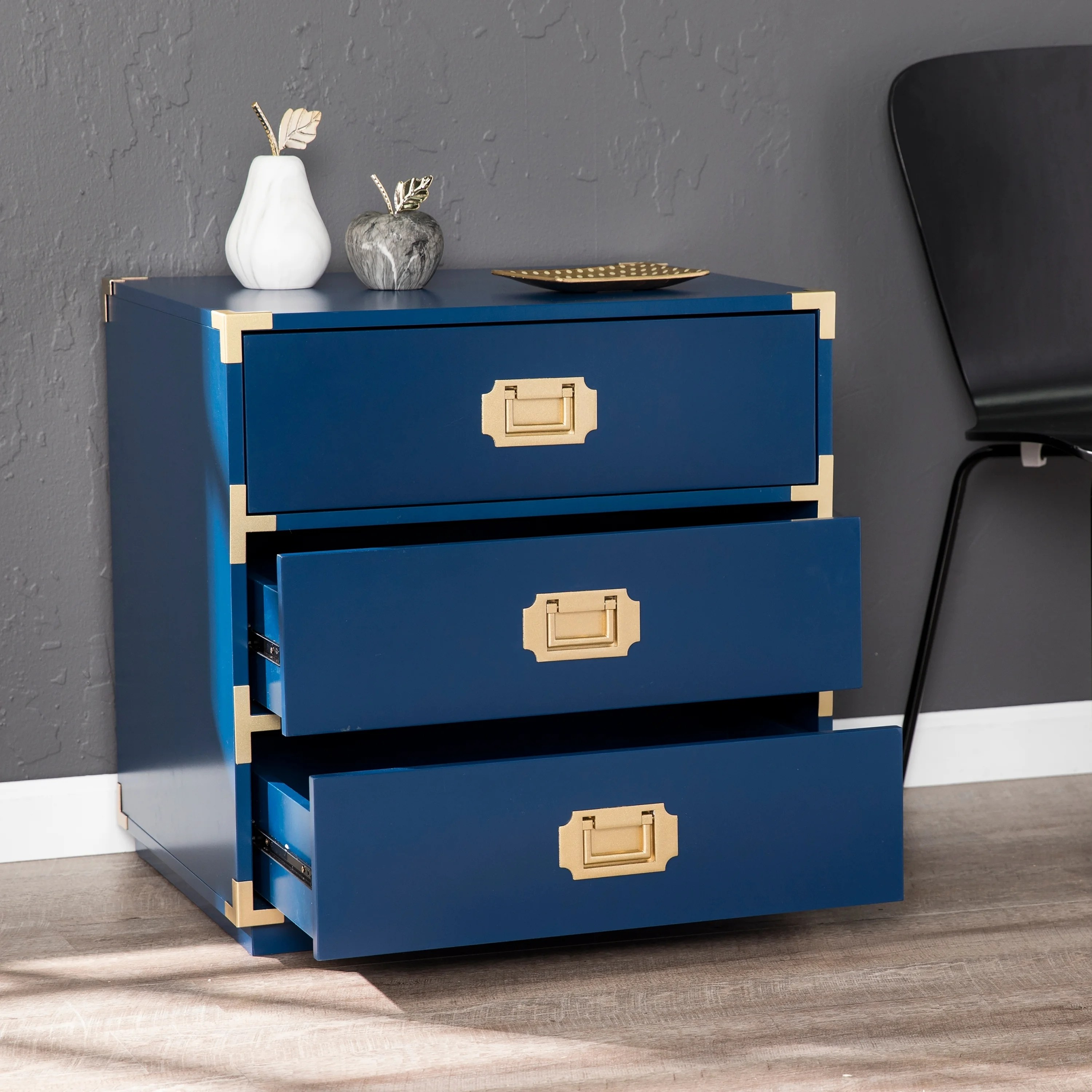 Somat Deco Harper Blvd Campaign 3 Drawer Accent Chest