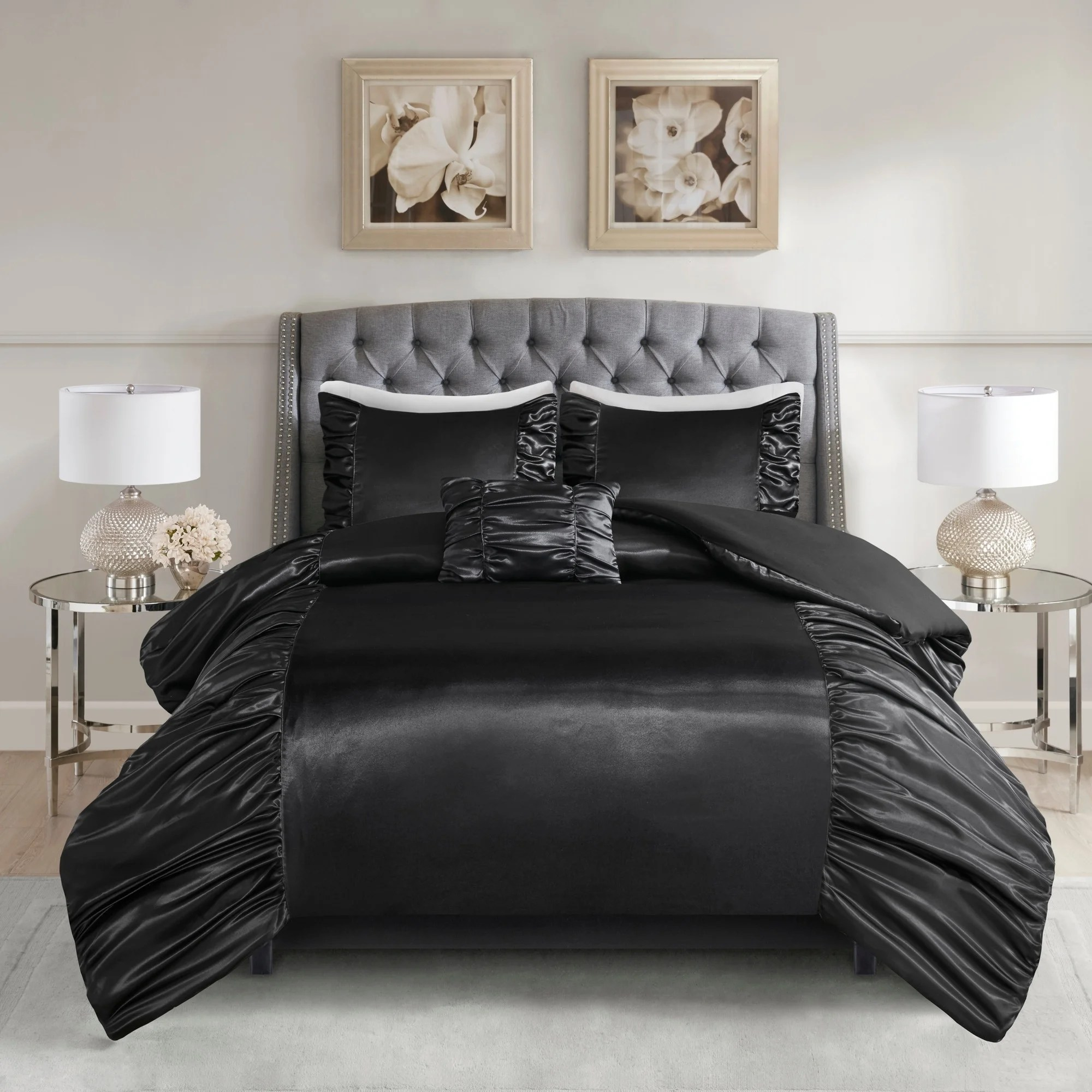 Satin Duvet Cover Madison Park Shelby Black 4 Piece Silky Satin Duvet Cover Set