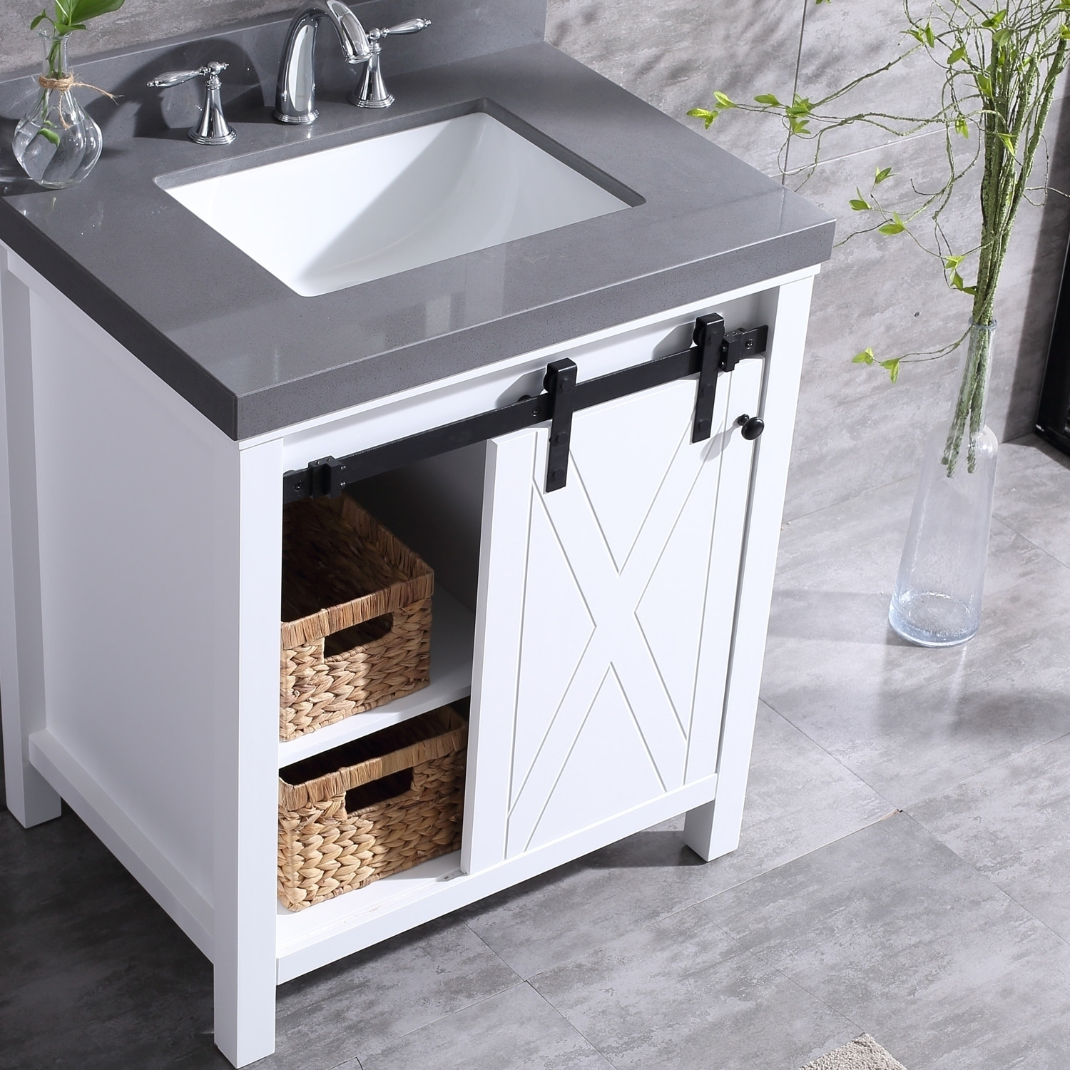 Eviva Dallas 36 In White Bathroom Vanity With Absolute Black Granite Countertop Overstock 22797365