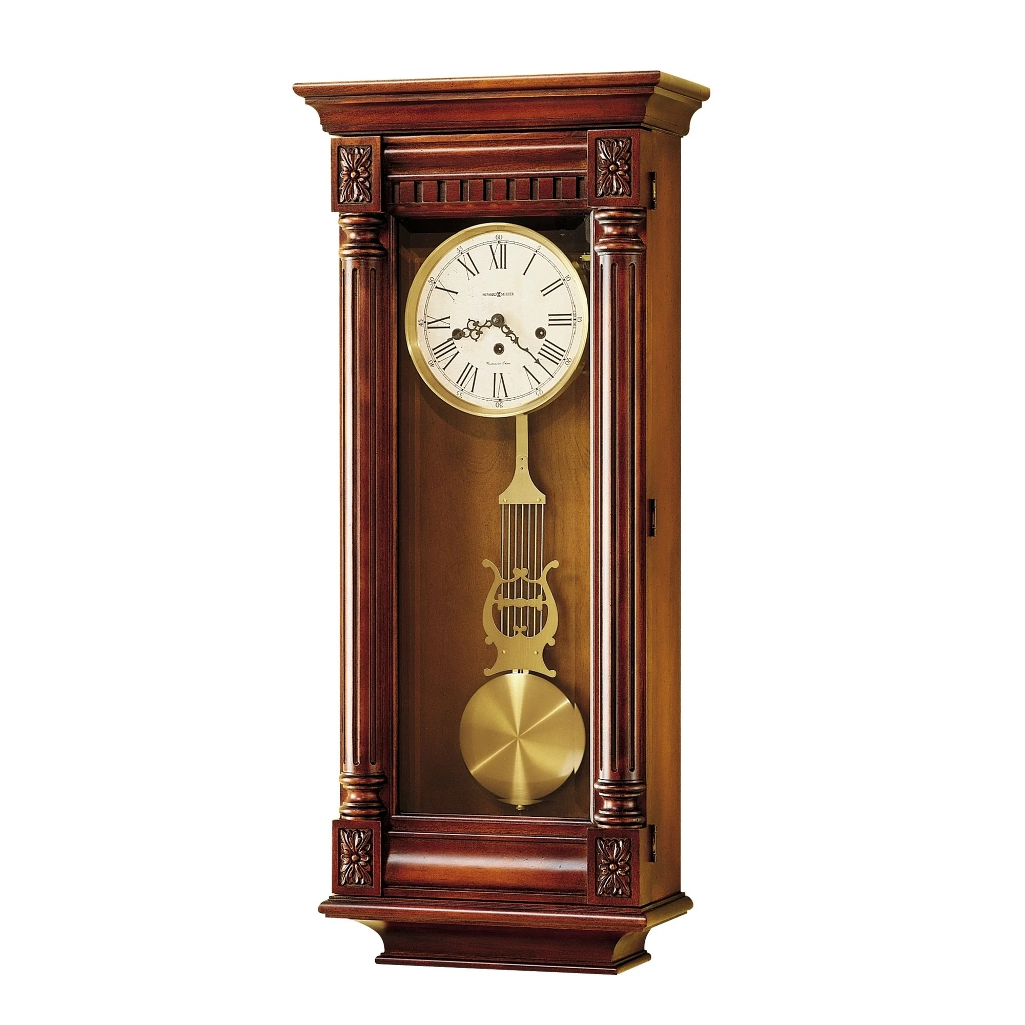 & Wall Clock Howard Miller New Haven Grandfather Clock Style Chiming Wall Clock With Pendulum Vintage Old World Classic Design