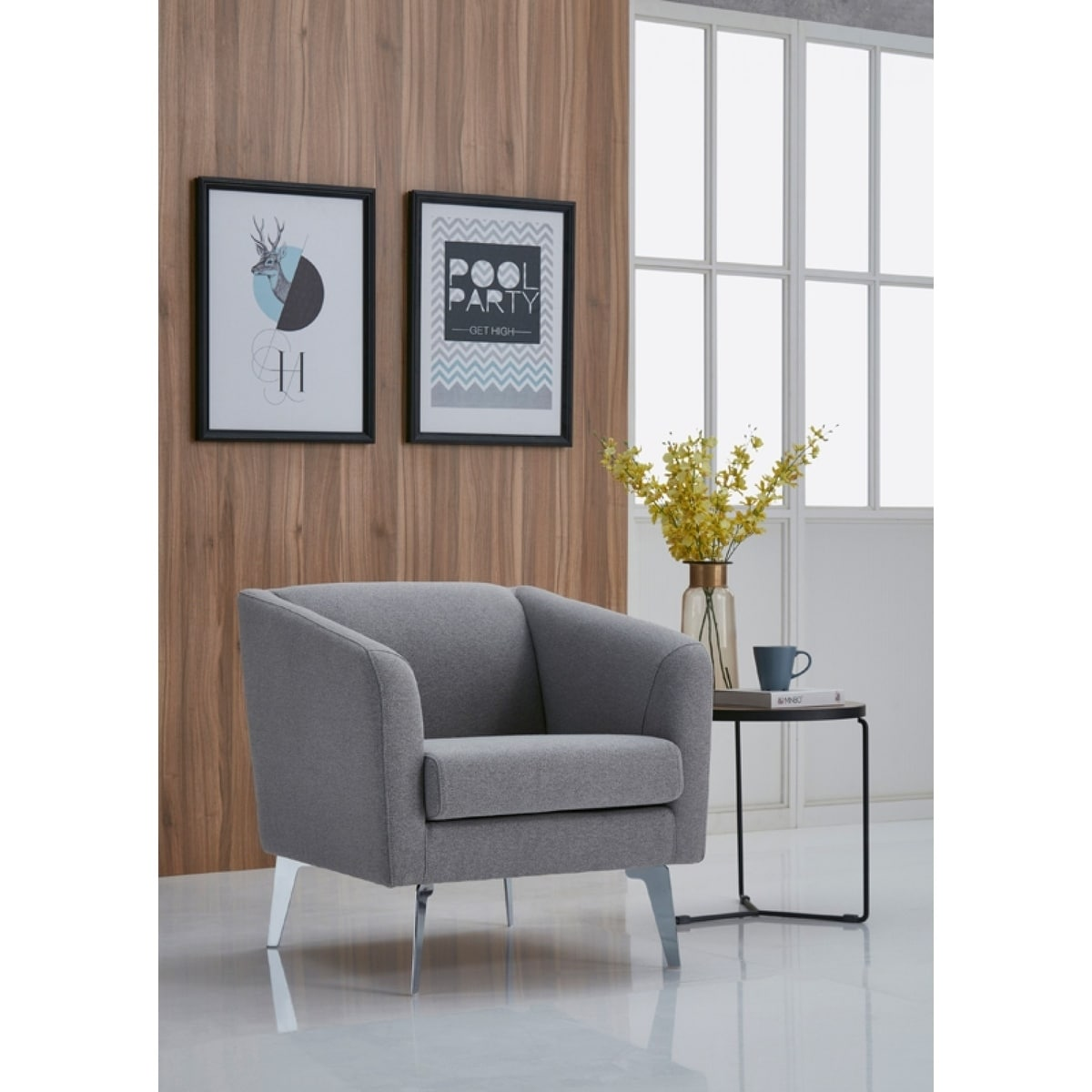 Divani Casa Encore Divani Casa Preston Contemporary Grey Fabric Lounge Chair