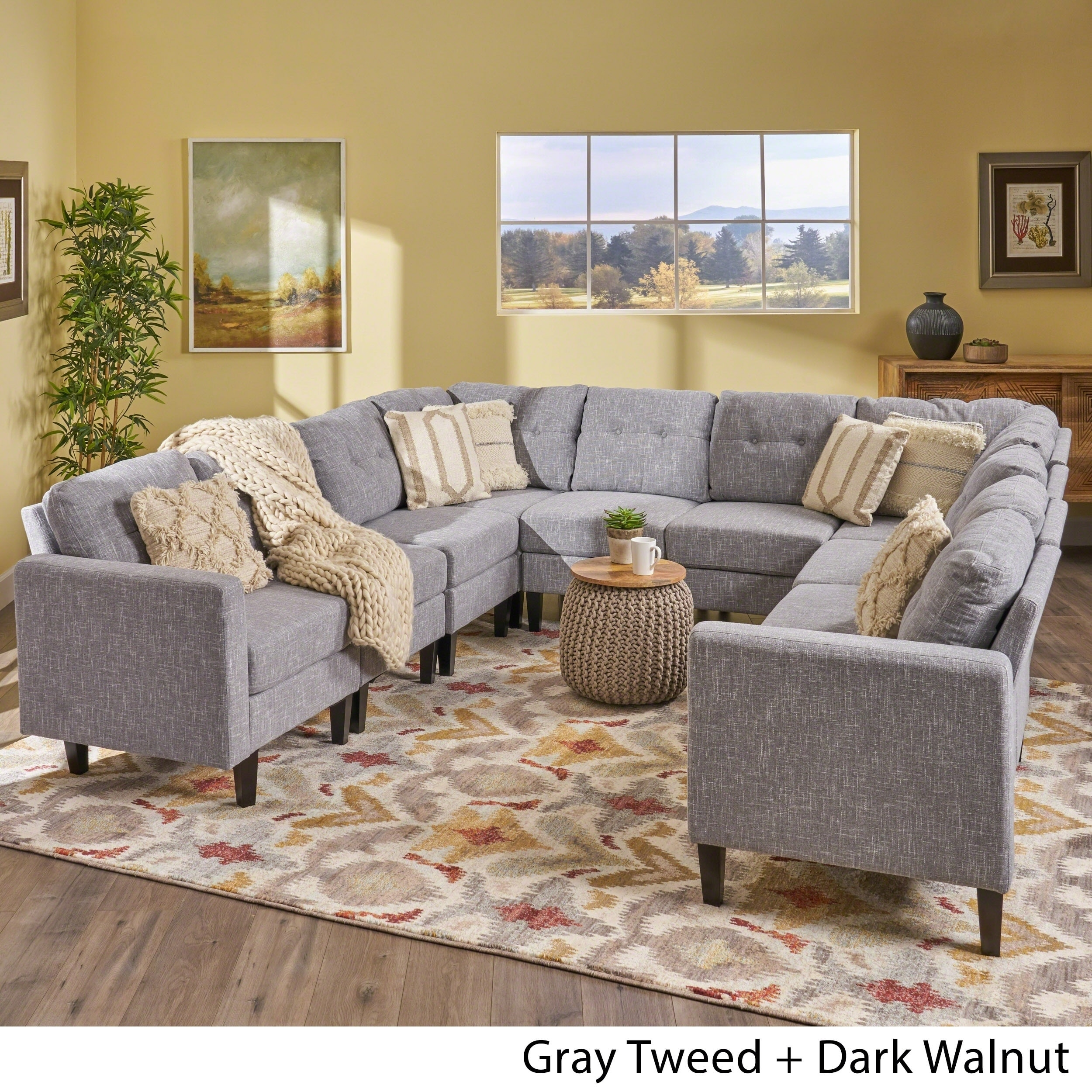 Gray U Shaped Sectional Charcoal Couch Home Decor Furniture