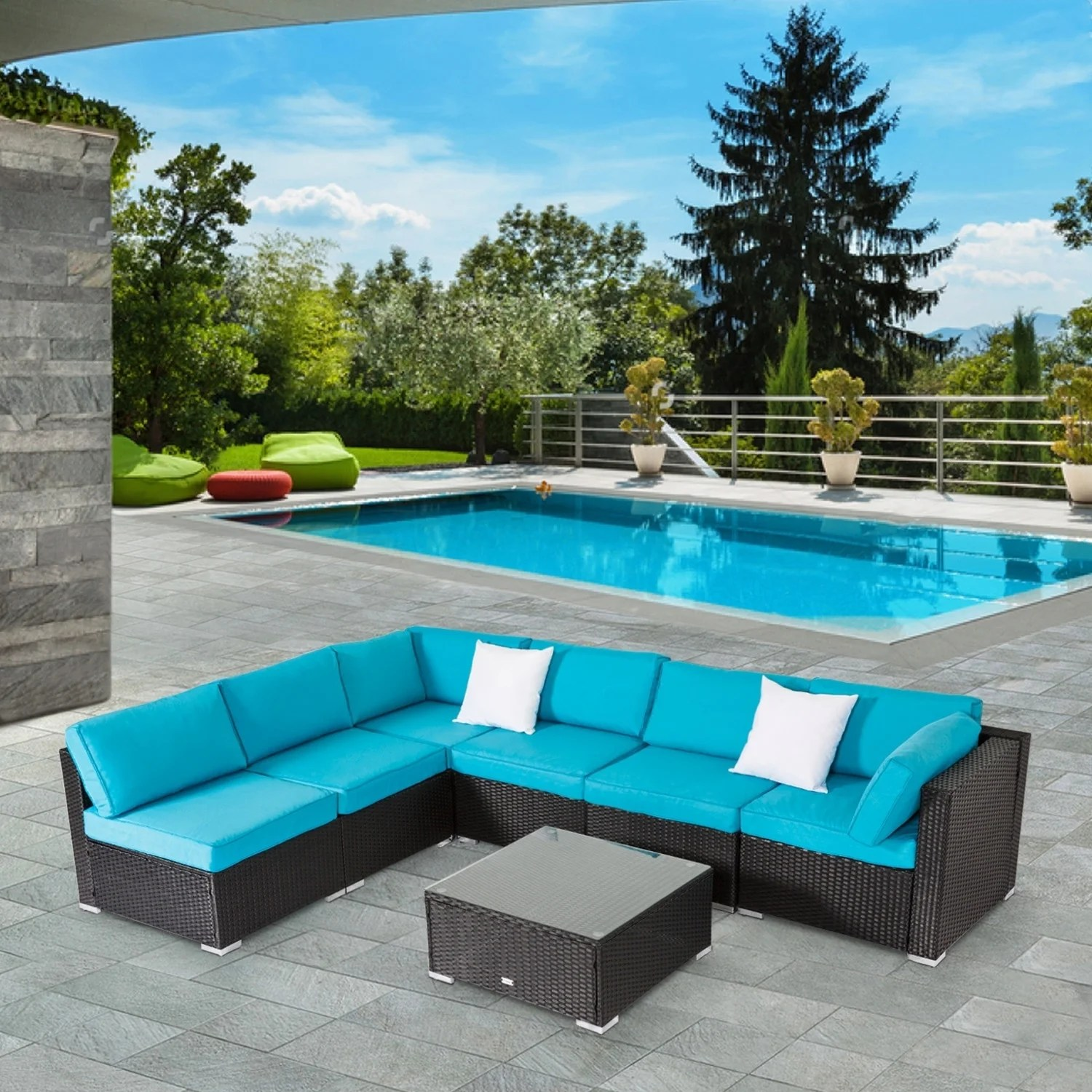 7 Piece Patio Set Kinbor 7 Piece Patio Furniture Set All Weather Outdoor Furniture Sectional Sofa W Cushions