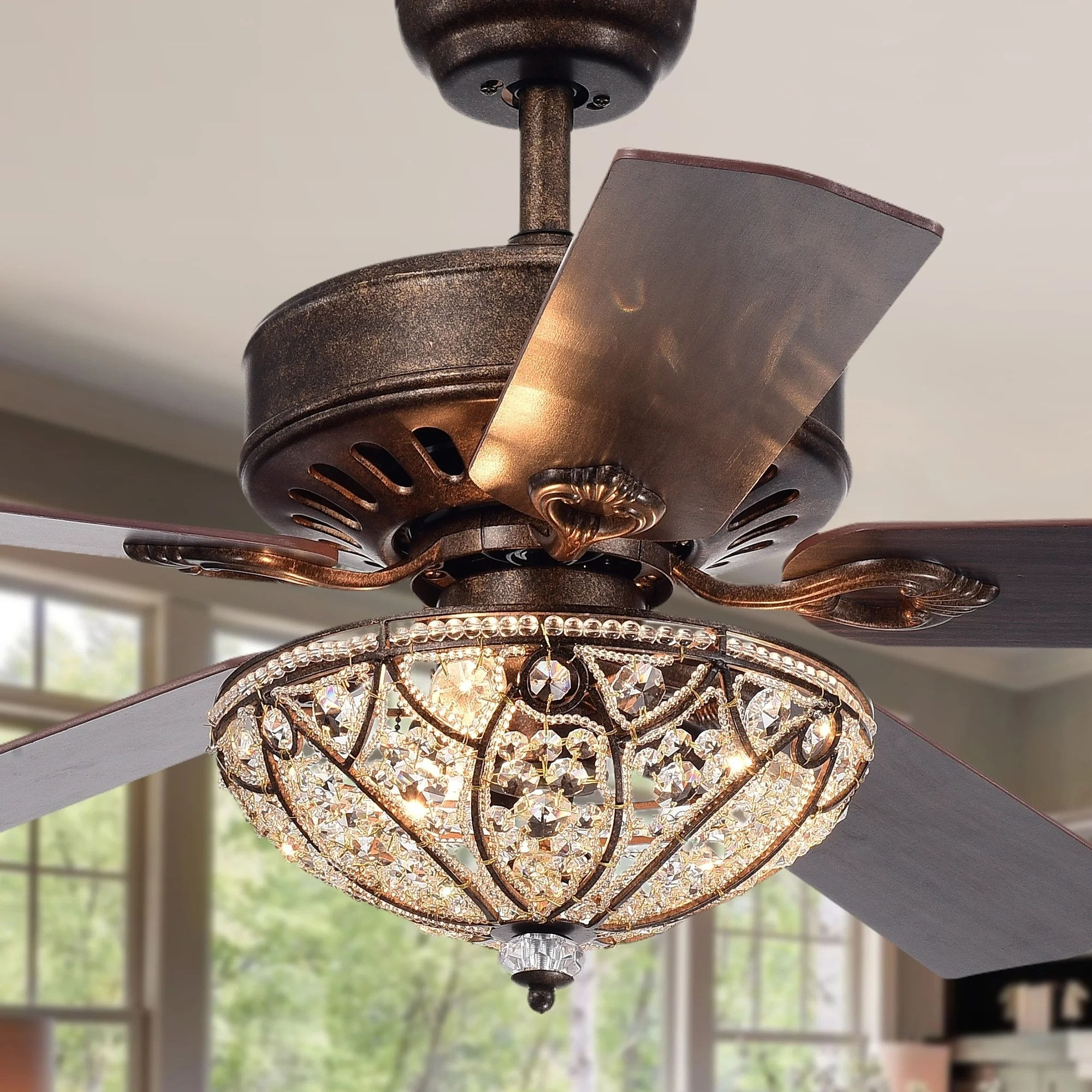 Rustic Ceiling Fan Light Fixtures Gliska 52 Inch 5 Blade Rustic Bronze Lighted Ceiling Fans With Crystal Bowl Shade Remote Controlled 2 Color Option Blades