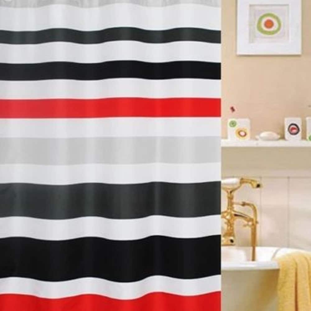 82 Shower Curtain Polyester Fabric Striped Red White And Black Shower Curtain 70