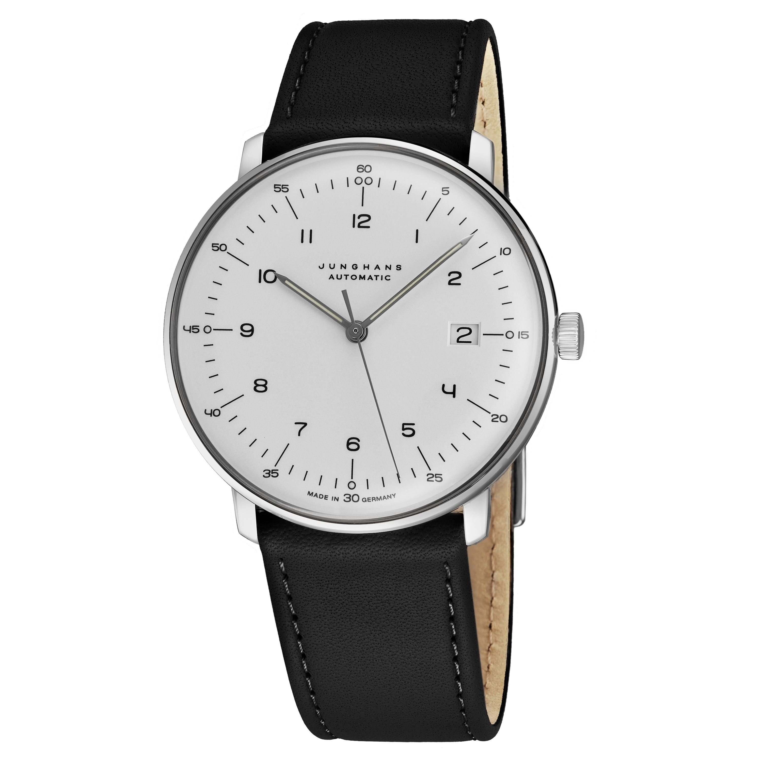 Max Bill Automatic Junghans Men S 027 4700 00 Maxbill Automatic Silver Dial Black Leather Strap Self Winding Watch