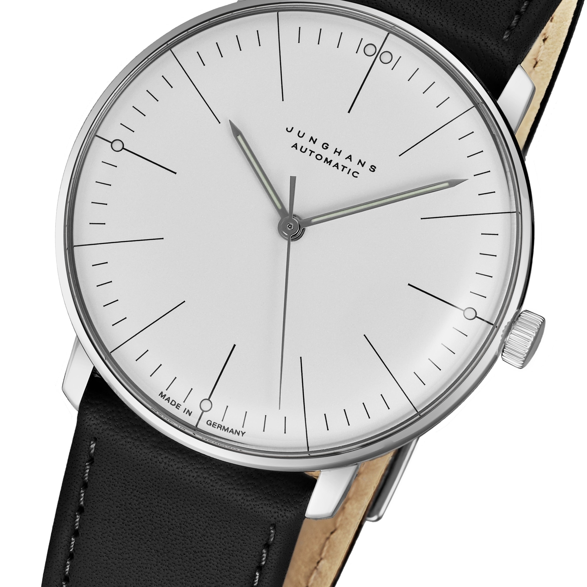 Max Bill Automatic Junghans Men S 027 3501 00 Maxbill Automatic Silver Dial Black Leather Strap Self Winding Watch