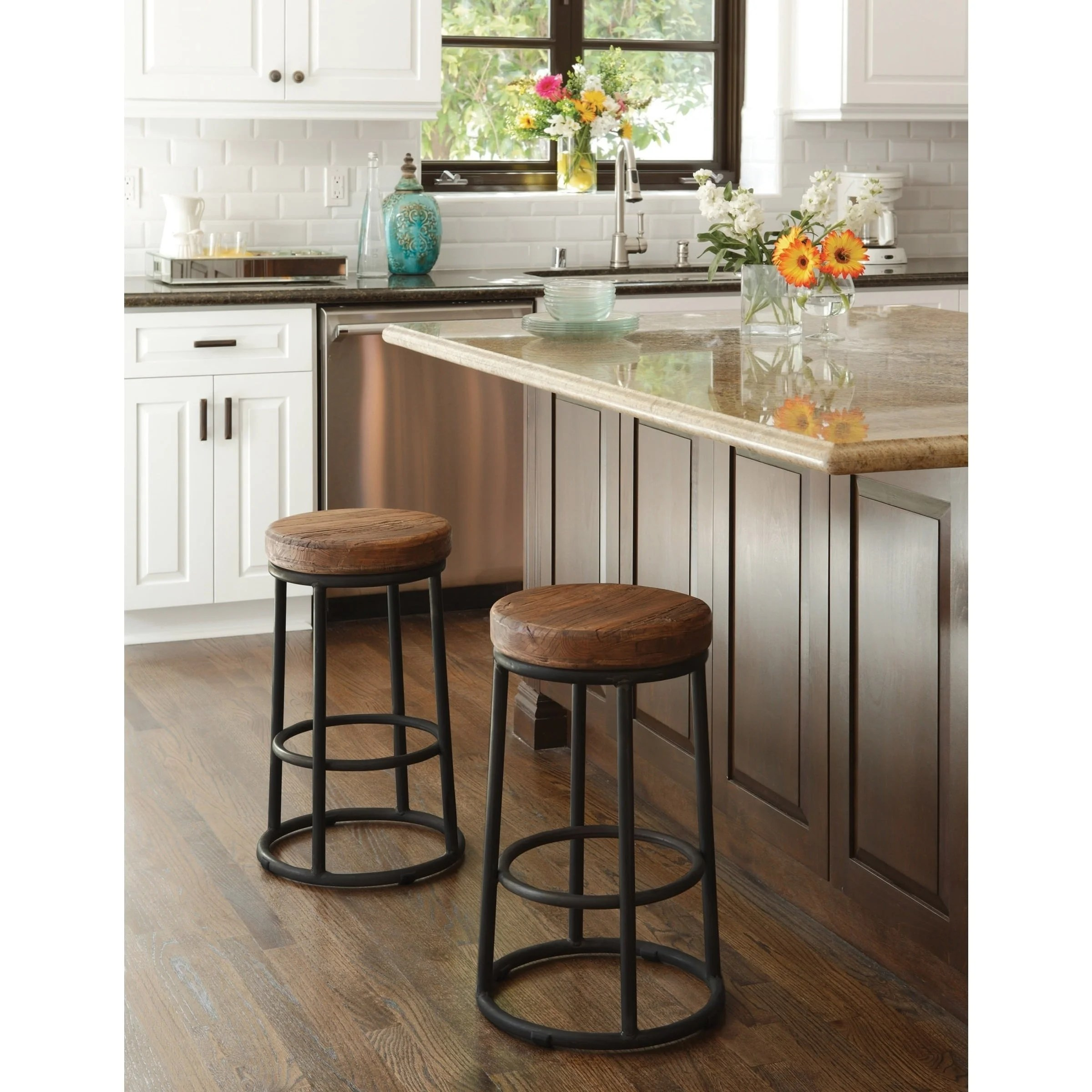 Wooden Kitchen Counter Stools Carbon Loft Horseshoe Reclaimed Wood And Iron Bar And Counter Stools