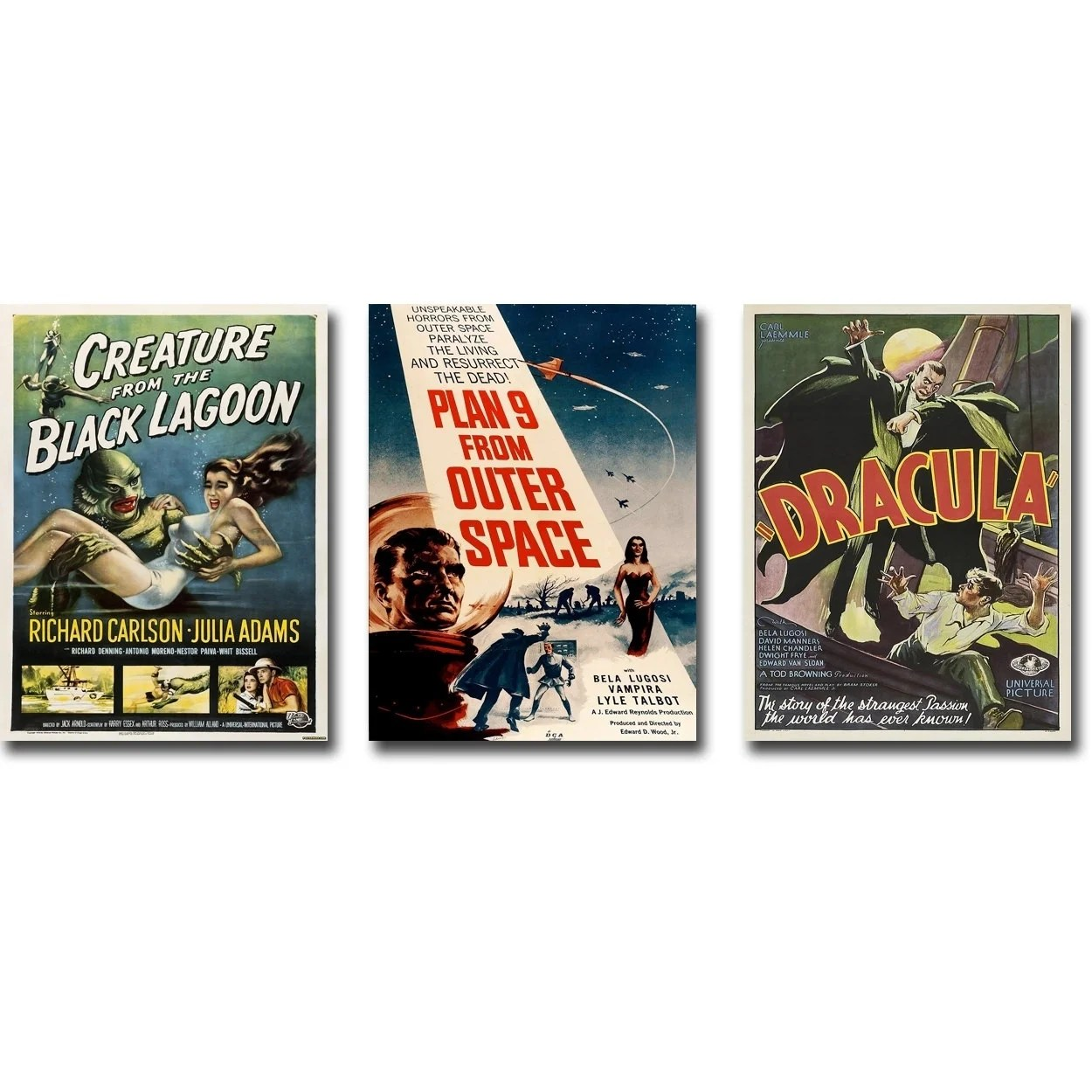 Canvas Giclee Vintage Horror Movie Poster 3 Piece Gallery Wrapped Canvas Giclee Art Collection Set