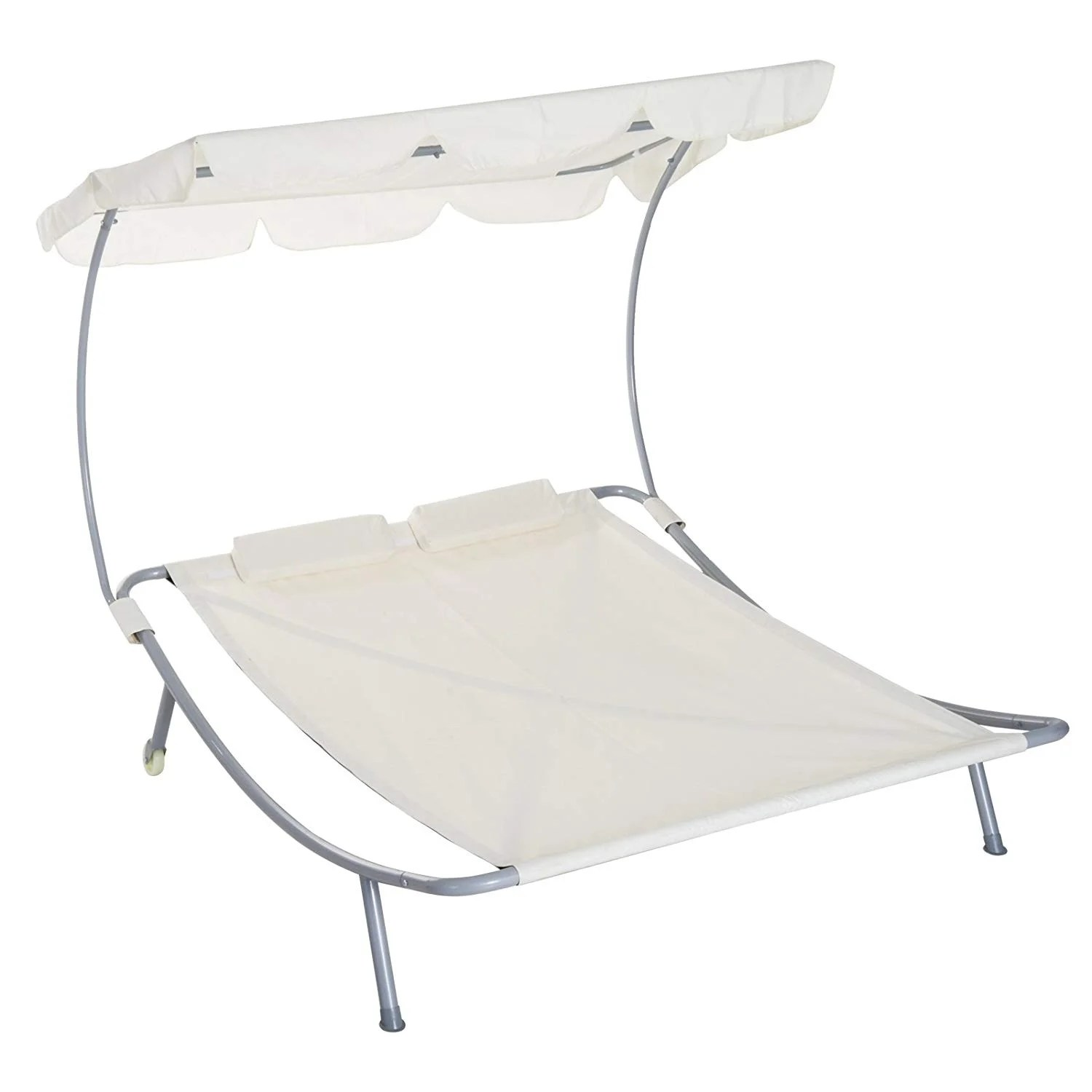 White Sun Lounge Outsunny 2 Person Sturdy Moveable Sun Protection Chaise Lounge Hammock Sunbed With Canopy And Stand Cream White