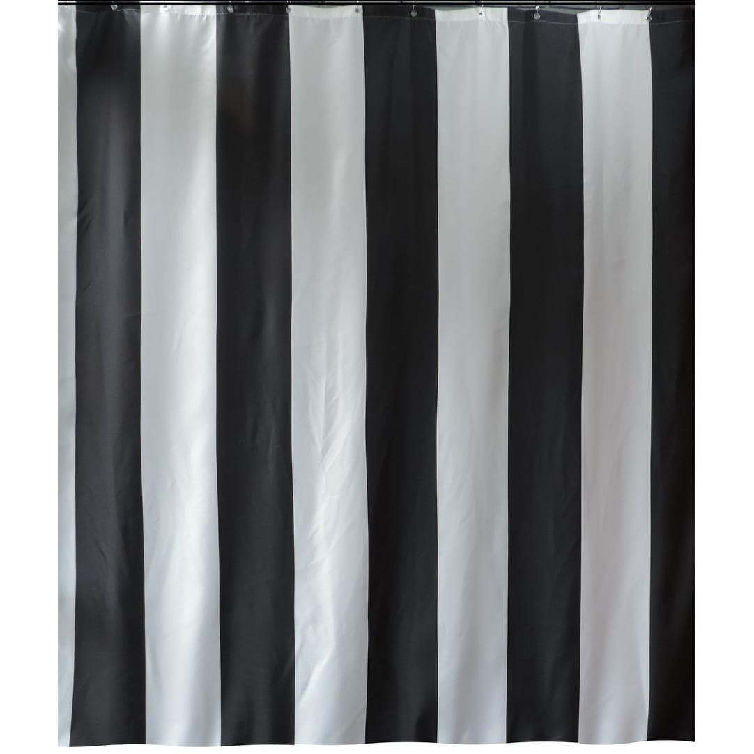 Long Shower Curtain Gamma Extra Long Shower Curtain 78 X 72 Inch Black Stripes Fabric