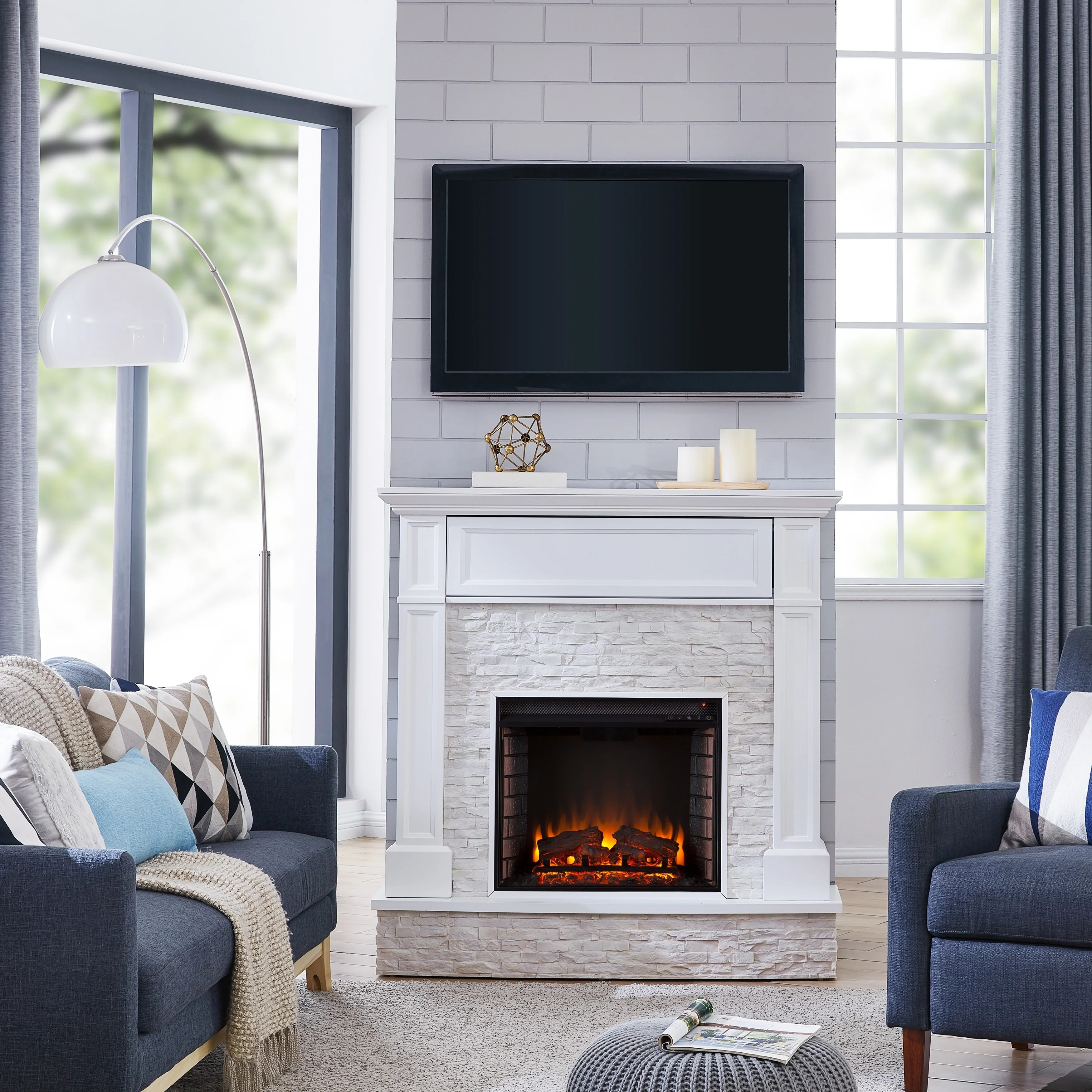 Living Room Electric Fireplace Harper Blvd Ashfield Faux Stone Media Electric Fireplace White With Rustic White