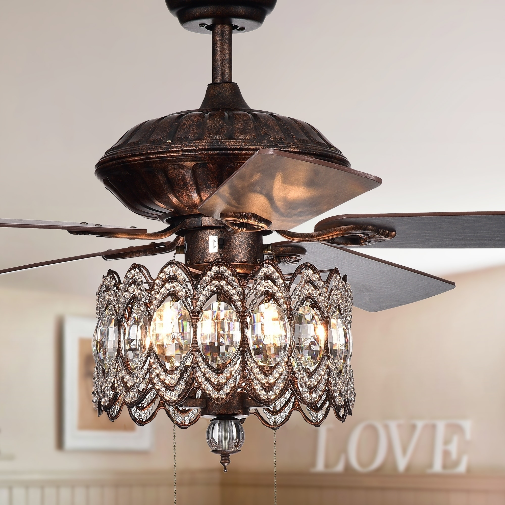 Rustic Ceiling Fan Light Fixtures Copper Grove Dejes 52 In Rustic Bronze Chandelier Ceiling Fan With Crystal Shade