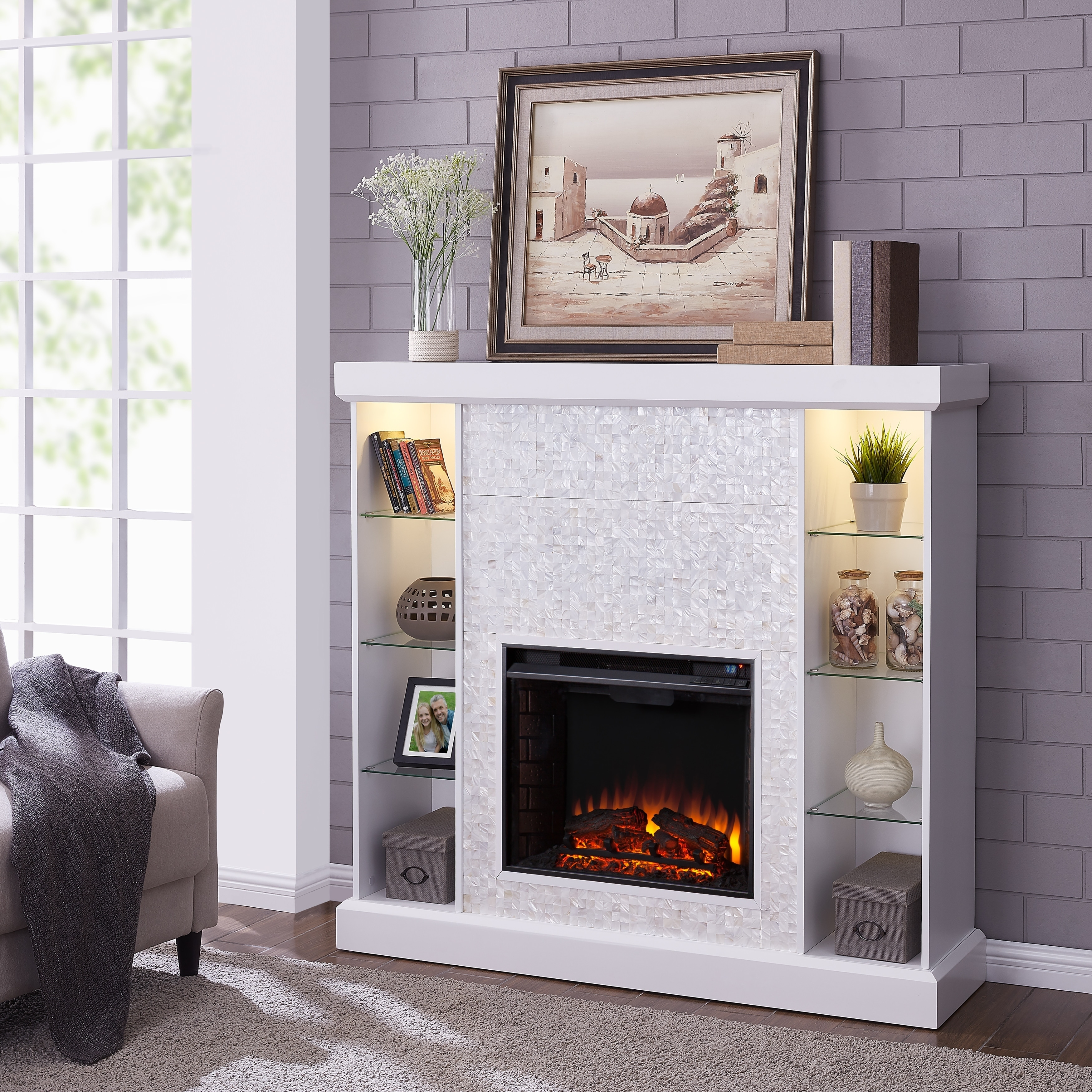 Living Room Electric Fireplace Silver Orchid Niedermann White Mosaic Tiled Curio Electric Fireplace