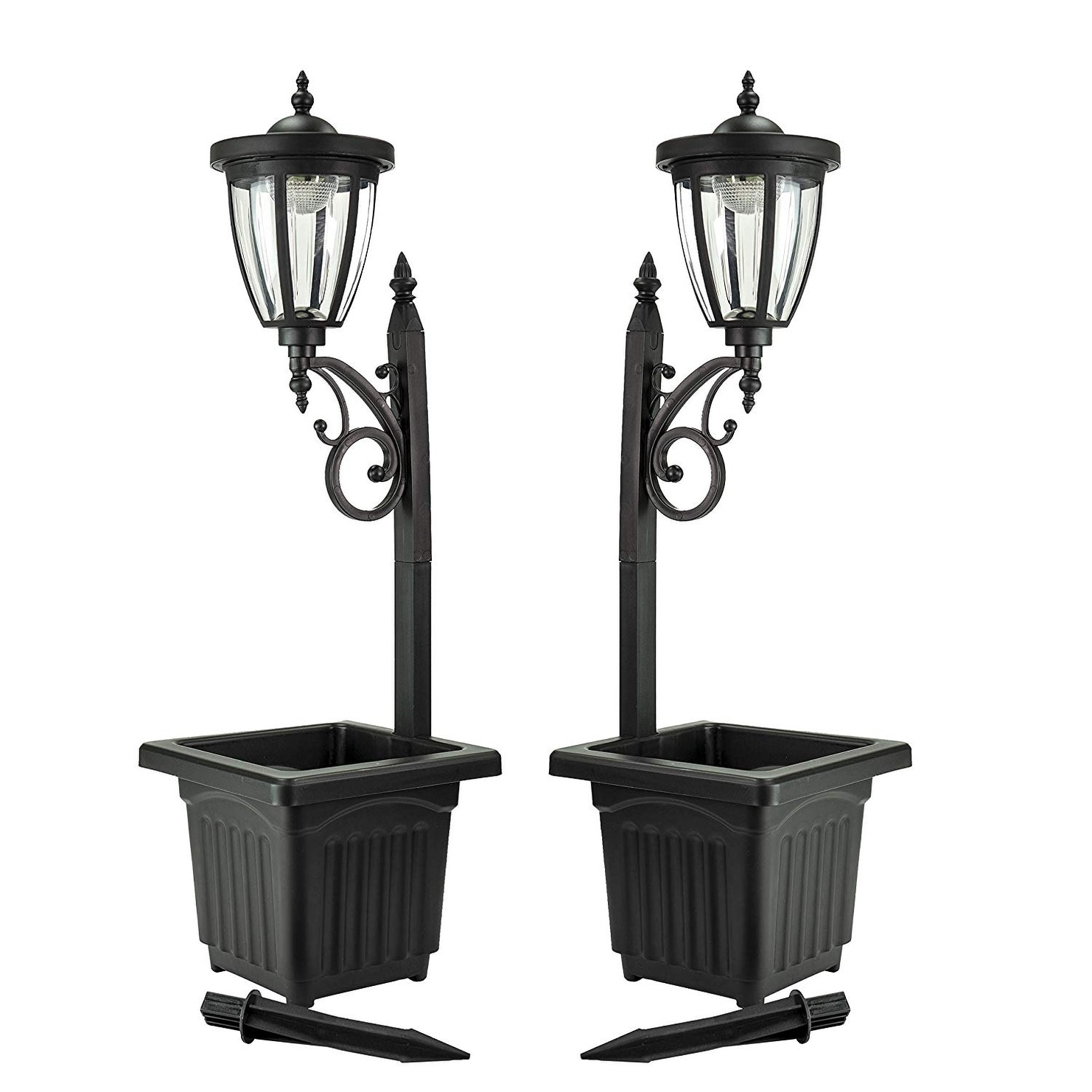 Solar Lamp Post Sun Ray Kambria Multi Function Solar Lamp Post And Planter Set Of 2