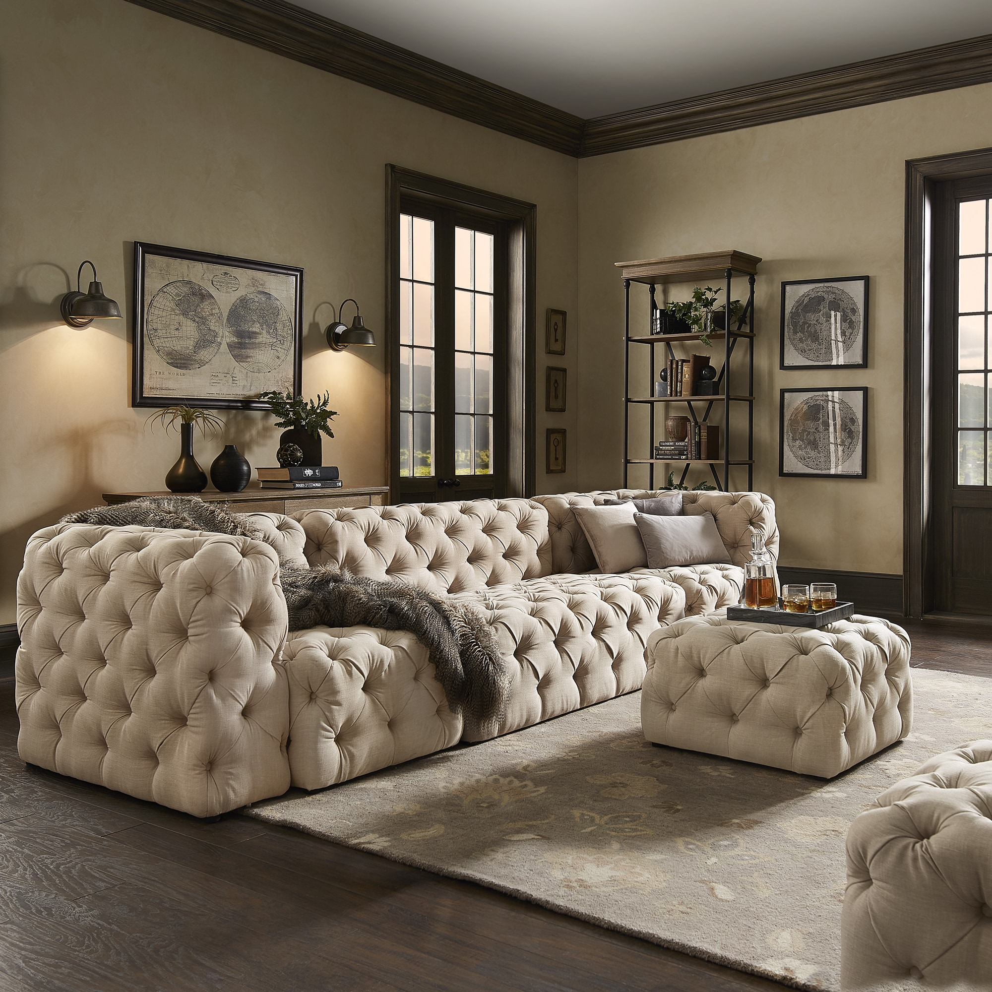 Cheap Modular Lounges Knightsbridge Ii Beige Linen Tufted Extra Long Chesterfield Modular Sofa By Inspire Q Artisan