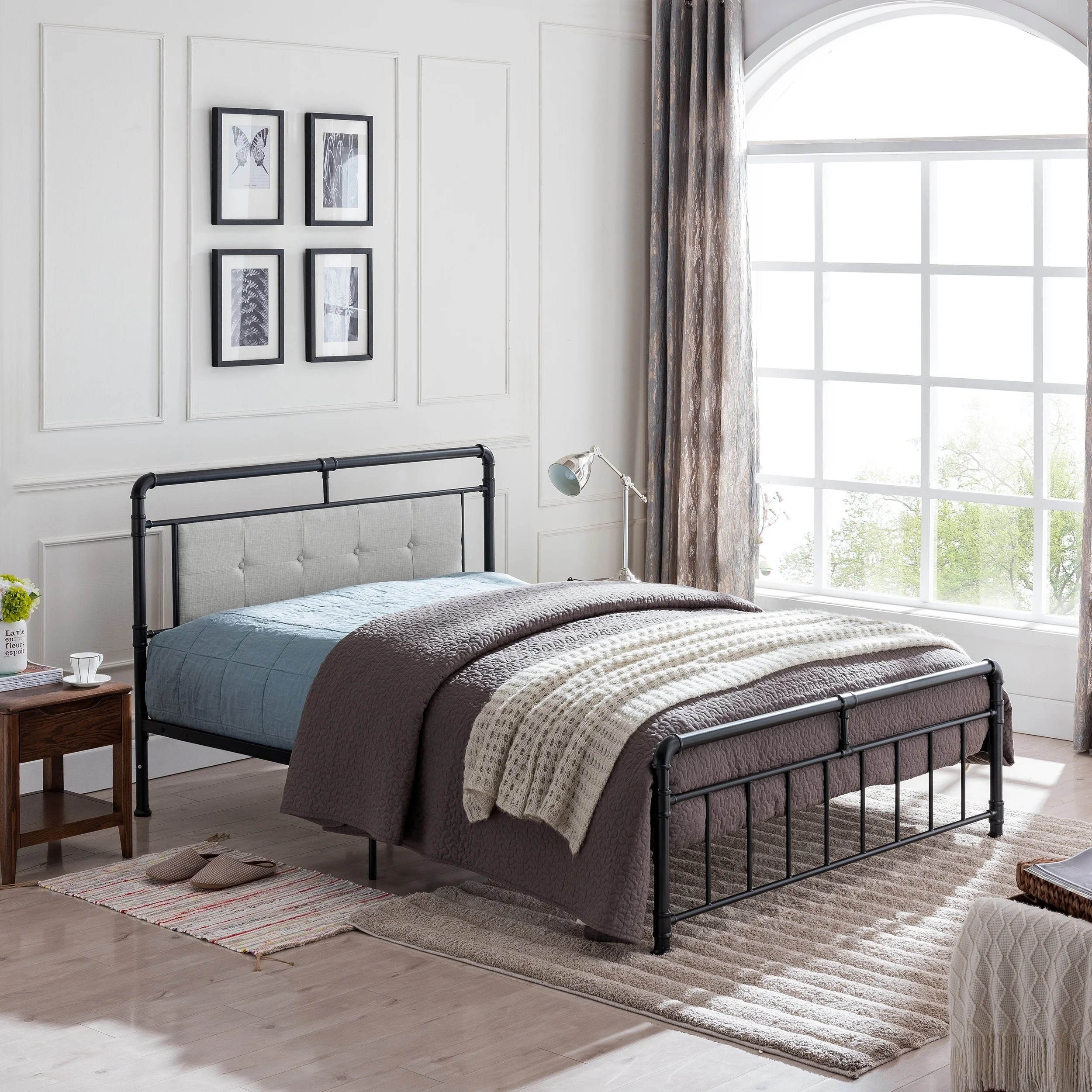 Metal Bed Headboards Goddard Industrial Upholstered Headboard Queen Size Iron Bed Frame By Christopher Knight Home
