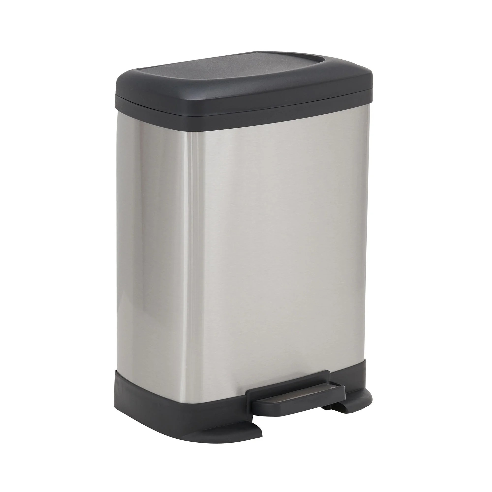 Rectangular Bin Design Trend 8l Saxony Rectangular Stainless Steel Step Trash Can Bin With Black Lid