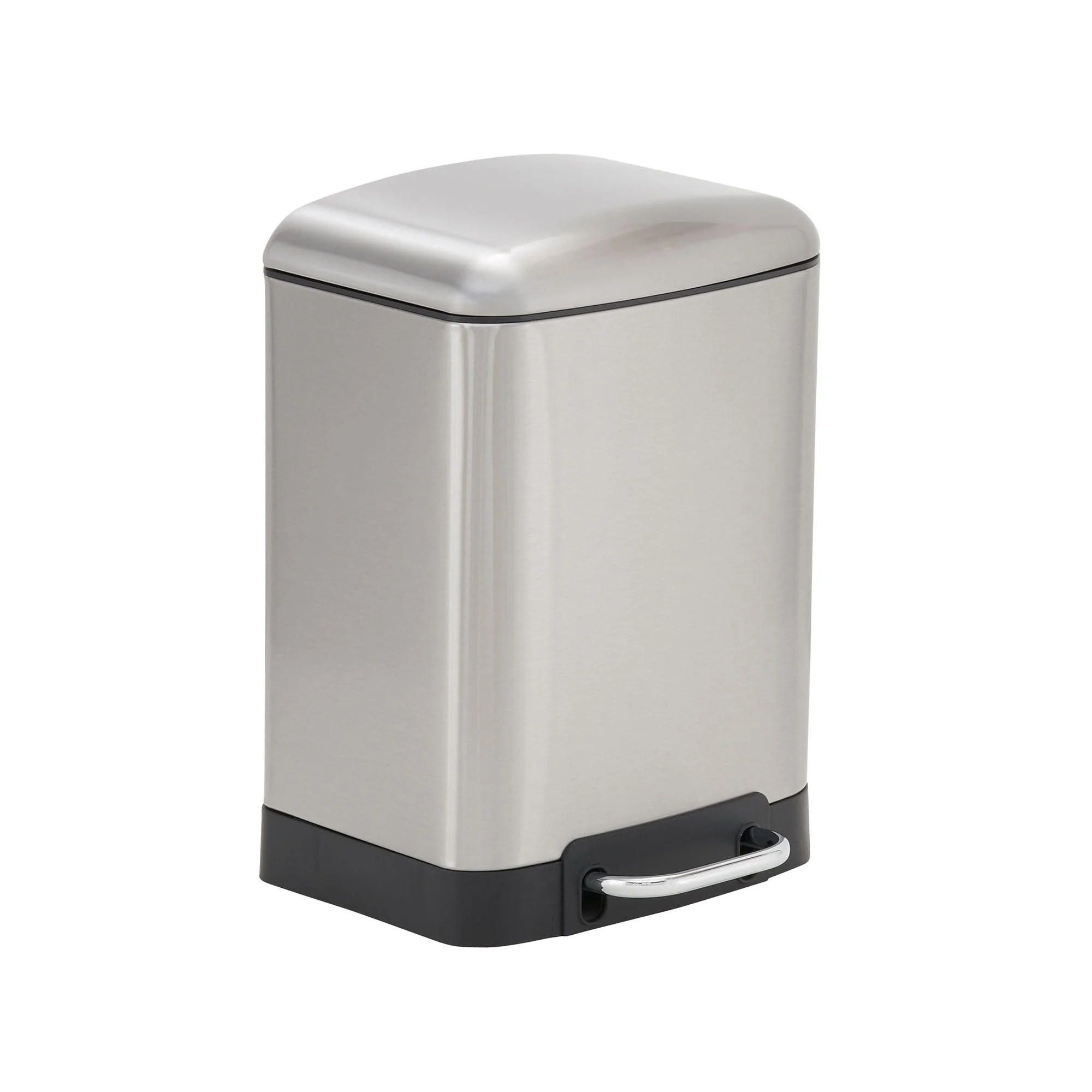 Rectangular Bin Design Trend 6l Crescent Rectangular Stainless Steel Step Trash Can Bin With Black Band