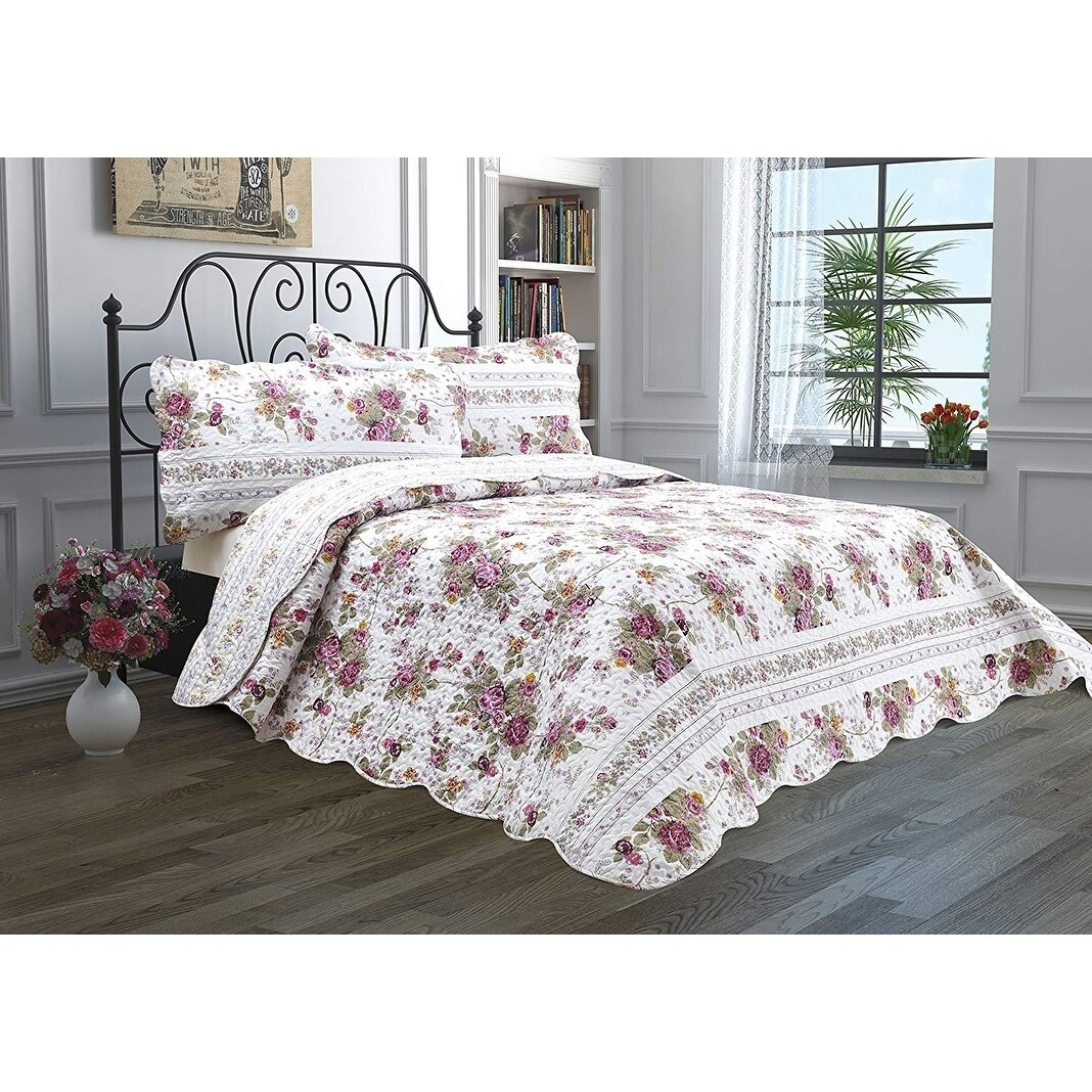 Luxury Home Hotel Reversible Lightweight Quilt Set Bedspread With Shams Christmas Merry Xmas Happy New Year Gift Overstock 24208174