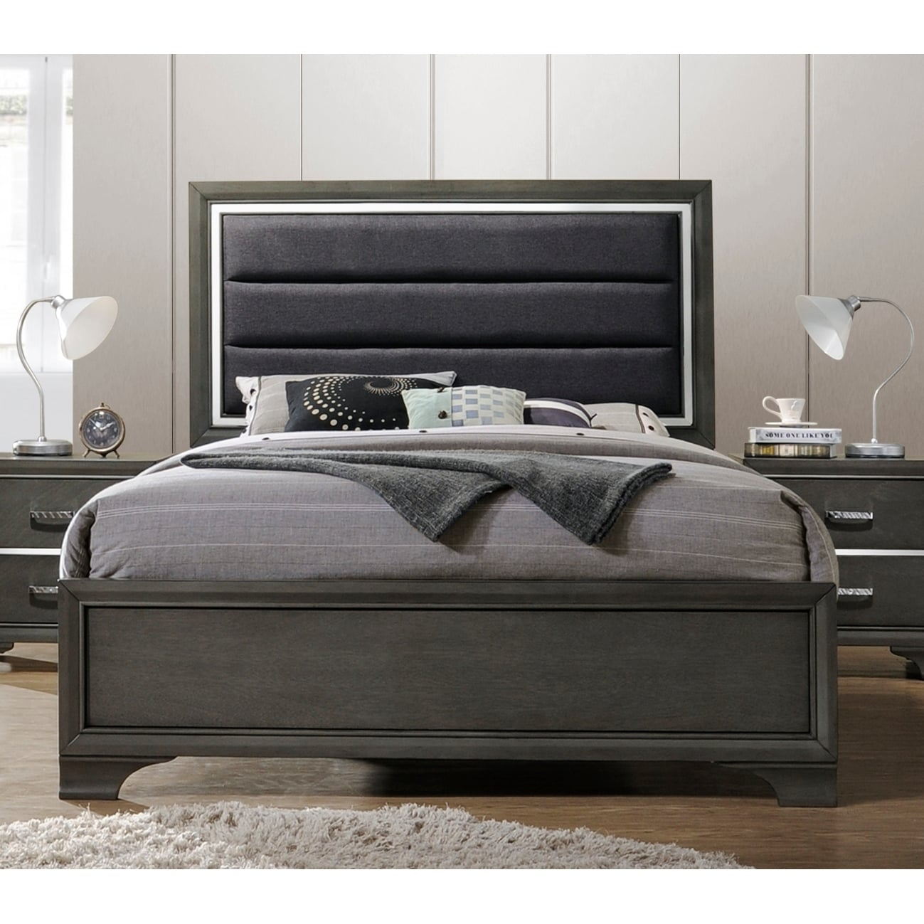 Wooden Beds Queen Size Wooden Beds Gray Faux Leather