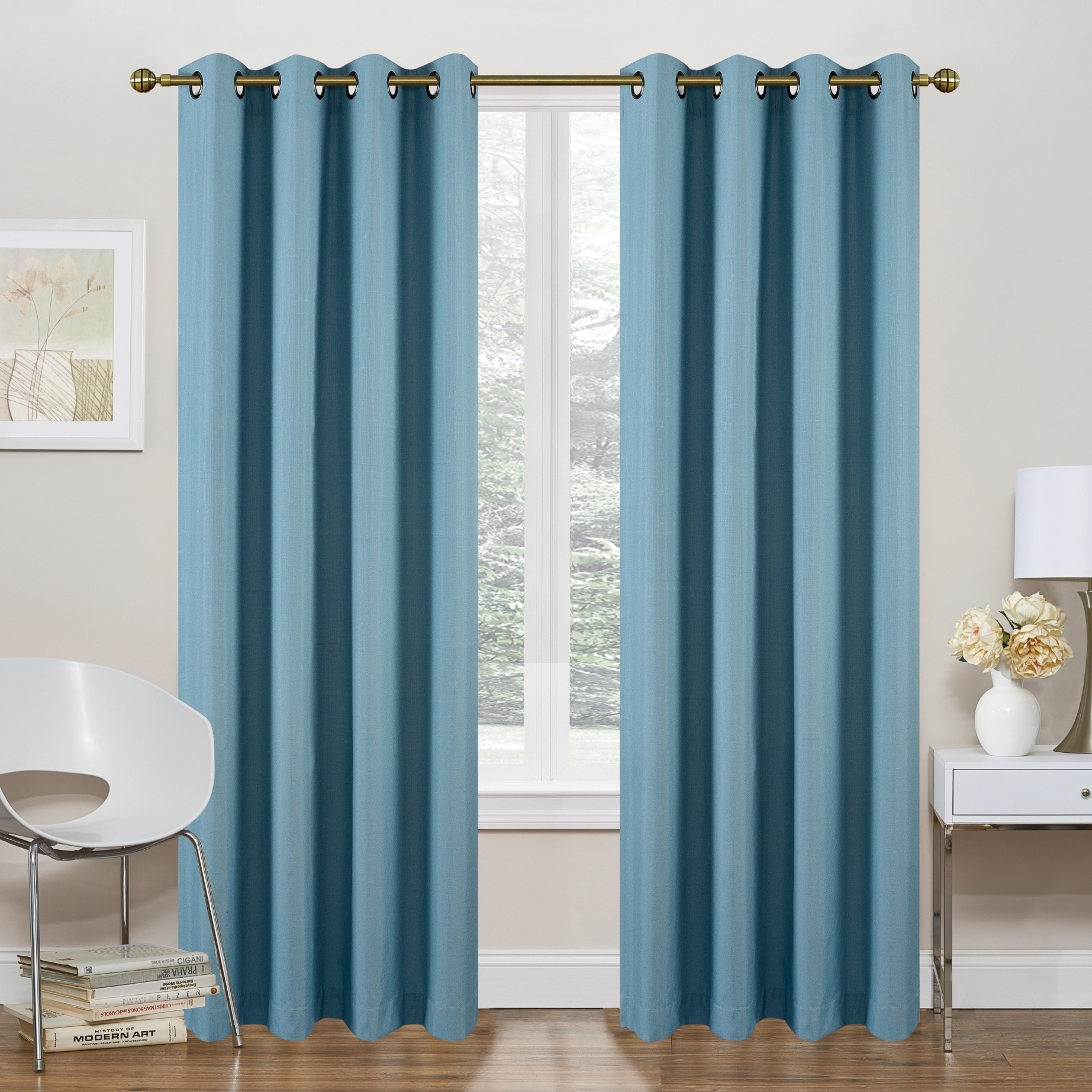 Glasregal 40 X 20 Regal Home Collections Morrow Solid Thermal Blackout 84 Inch Grommet Top Curtain Panel Pair 54