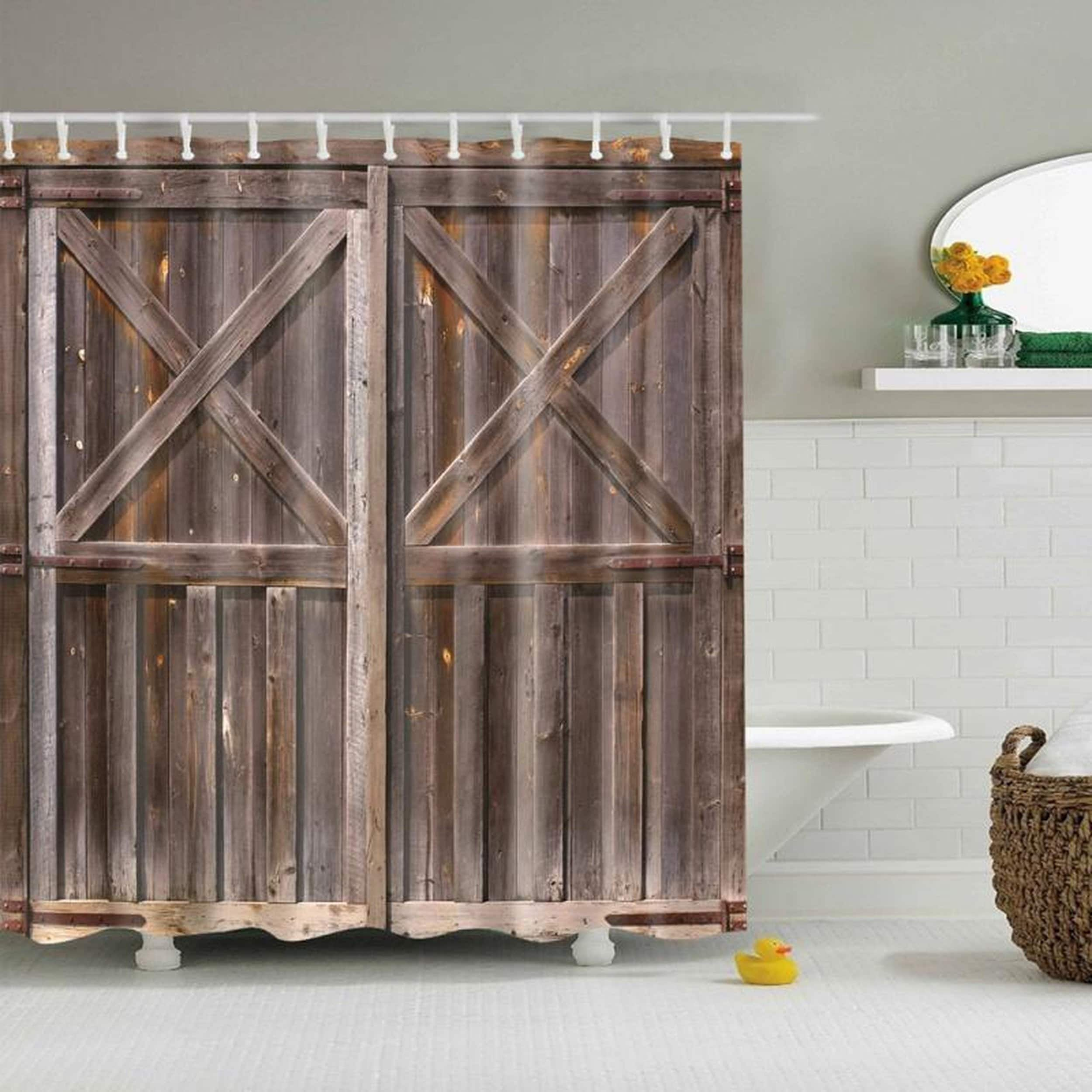 Cheap Rustic Shower Curtains Rustic Shower Curtain Old Wooden Pattern