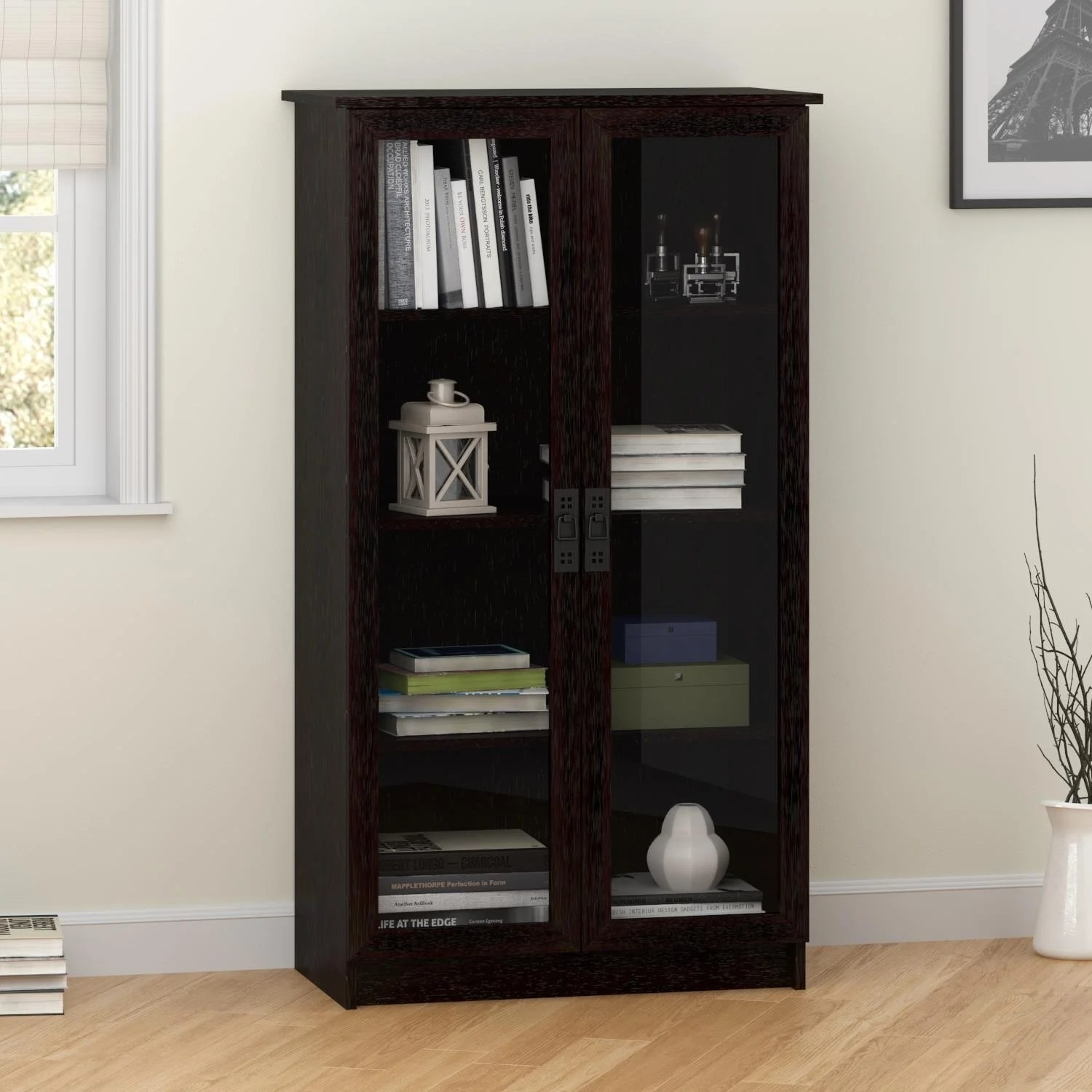 Etagere Otto Ameriwood Home Quinton Point Espresso Bookcase With Glass Doors N A