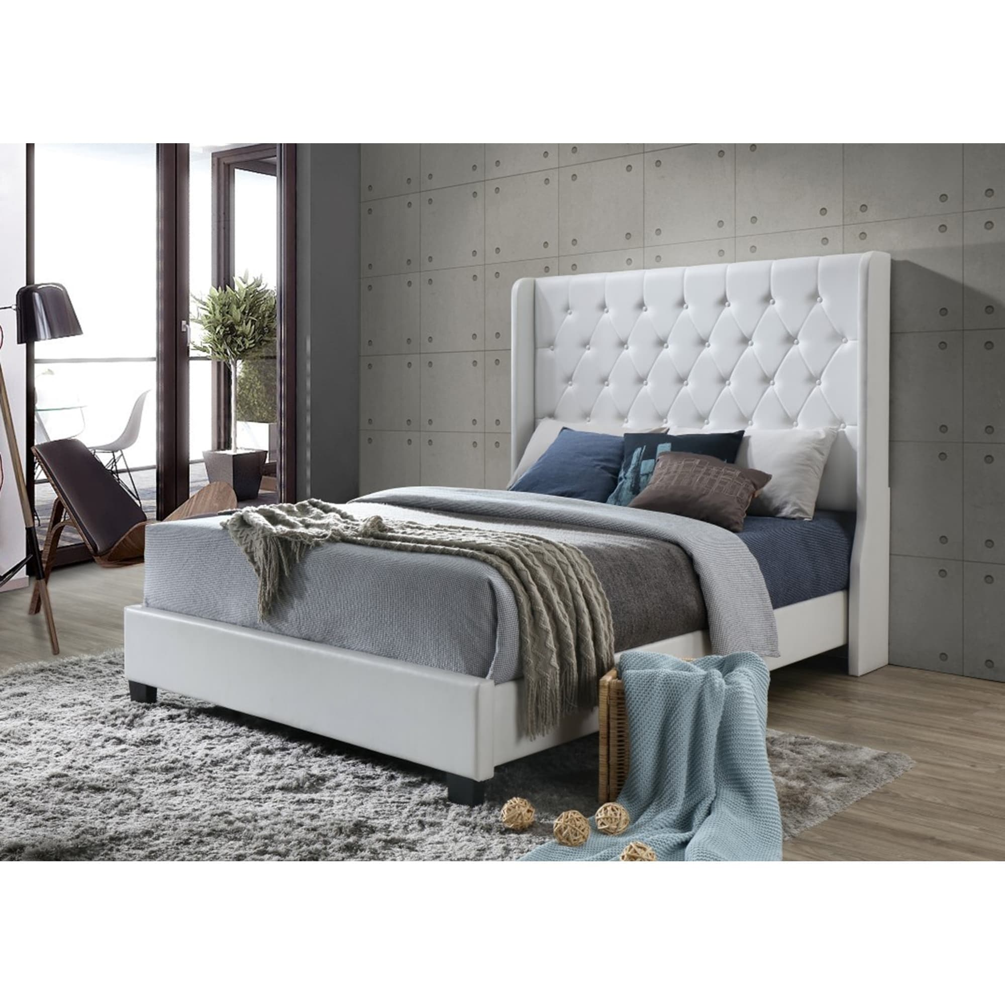 White Platform Bed Without Headboard White Tufted Modern Faux Leather Wingback Queen Platform Bed With A 65 In Tall Headboard No Box Spring Required