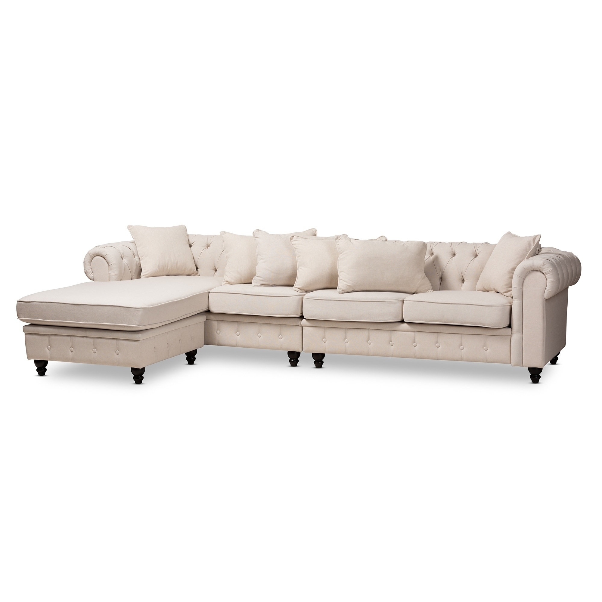 Chesterfield Sectional Sofa Traditional Fabric Chesterfield Reversible Sectional Sofa
