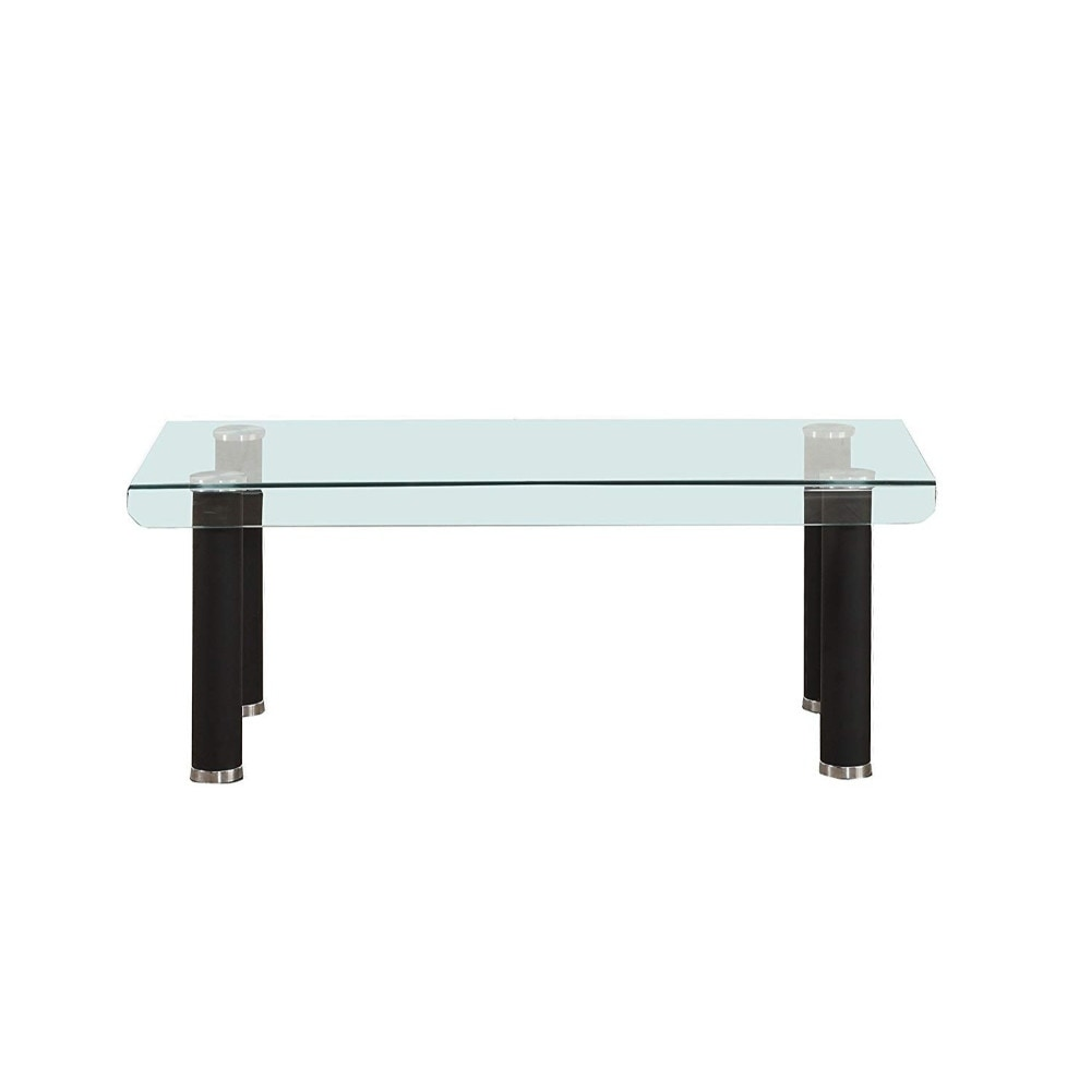Round Glass Top Coffee Table Rectangular Tempered Glass Top Coffee Table With Round Metal Feet Black