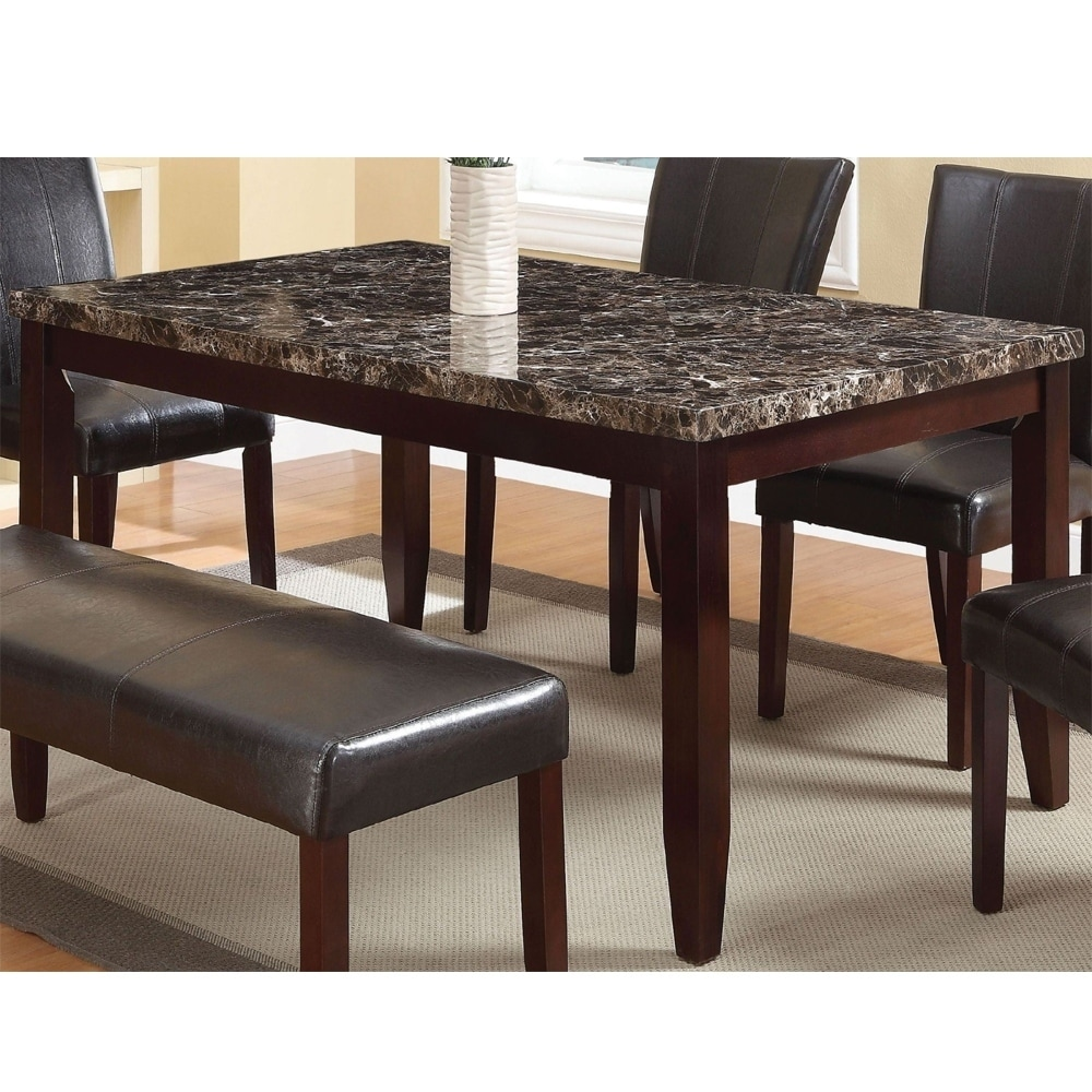Modern Dining Room Furniture Contemporary Wooden Dining Table With Faux Marble Top Brown