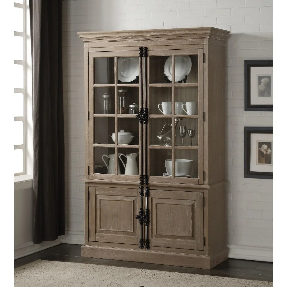 Glass Front Door Transitional Wooden Curio Cabinet With Double Glass Front Door Brown