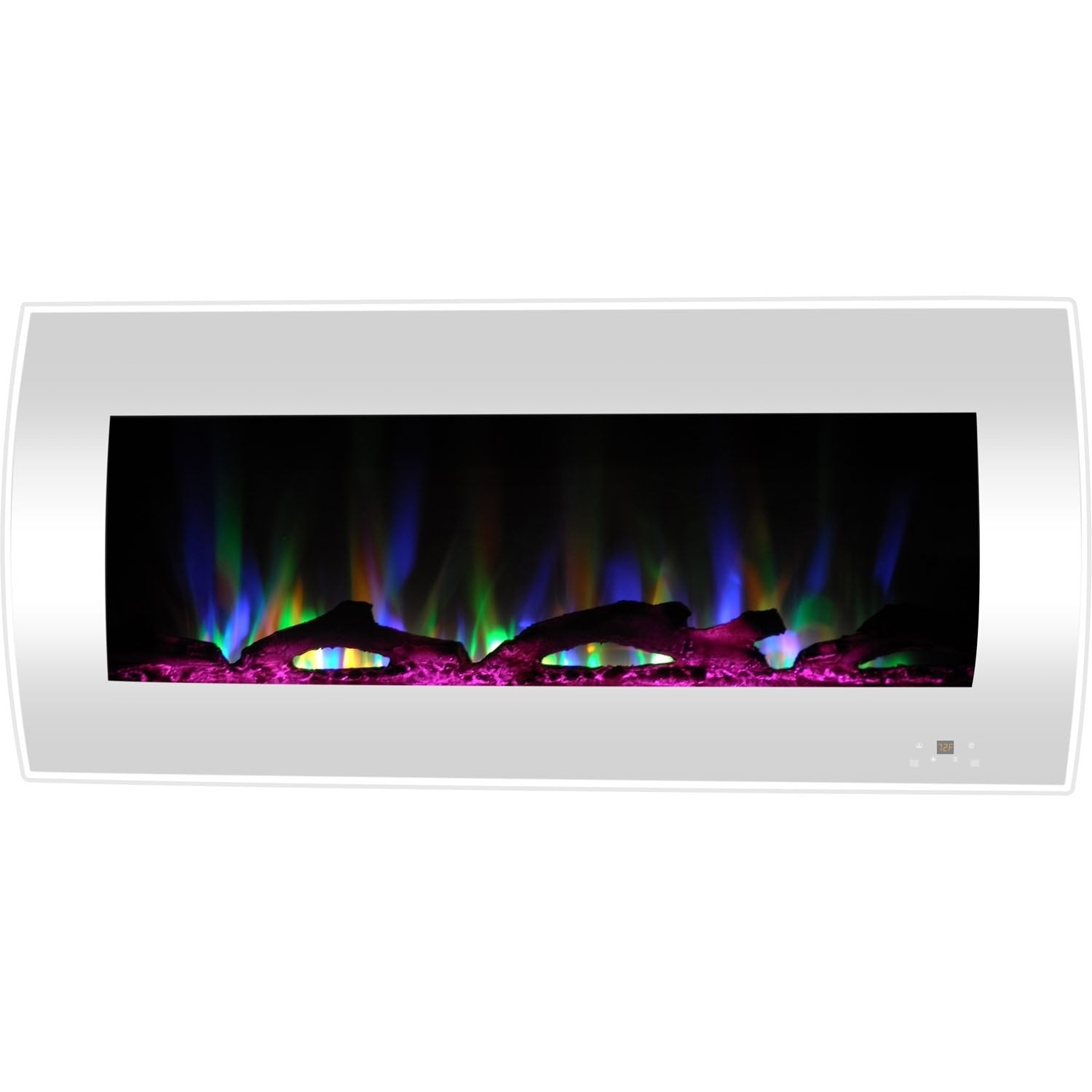 Curved Electric Fireplace Cambridge 42 In Curved Wall Mount Electric Fireplace Heater In White