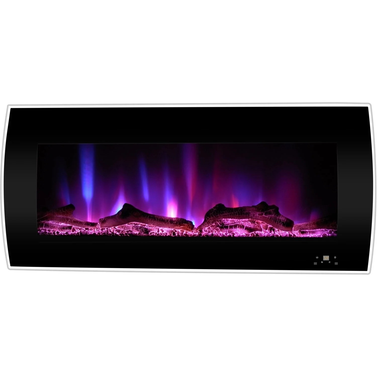 Curved Electric Fireplace Cambridge 42 In Curved Wall Mount Electric Fireplace Heater In Black
