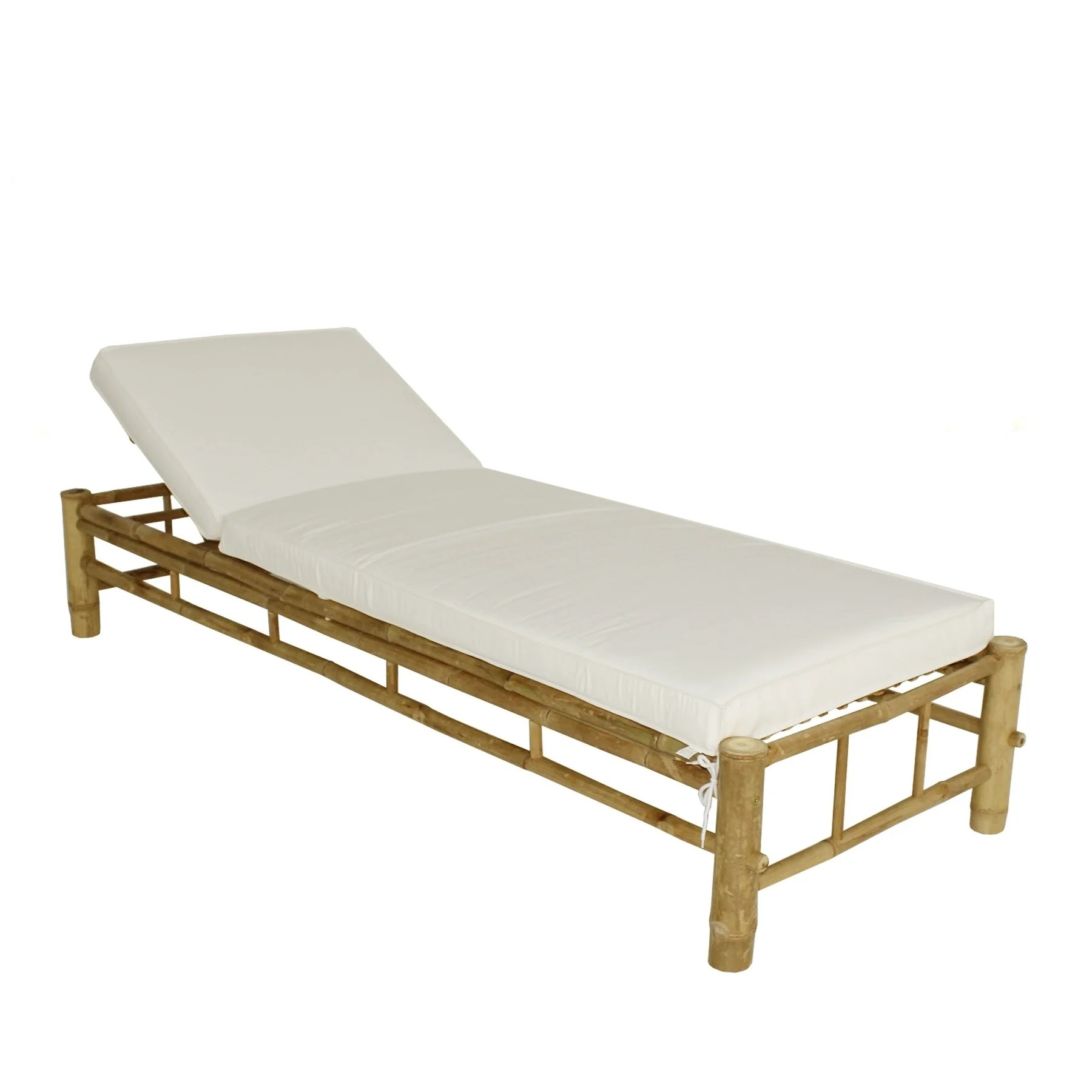 White Sun Lounge Bamboo Lounge Chair Adjustable Sun Lounger With White Mattress