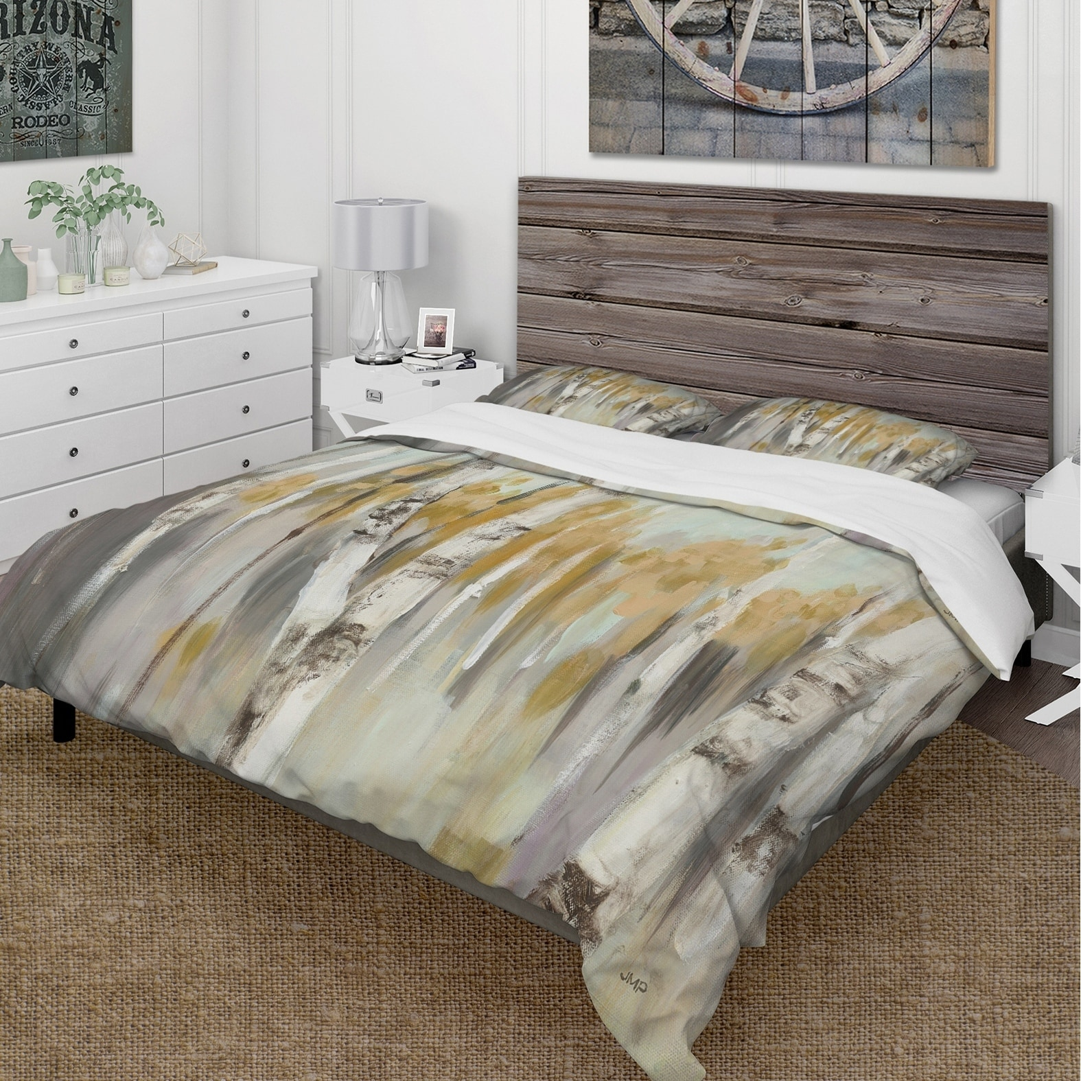 Silver Duvet Cover Designart Silver And Yellow Birch Forest Cottage Bedding Set Duvet Cover Shams