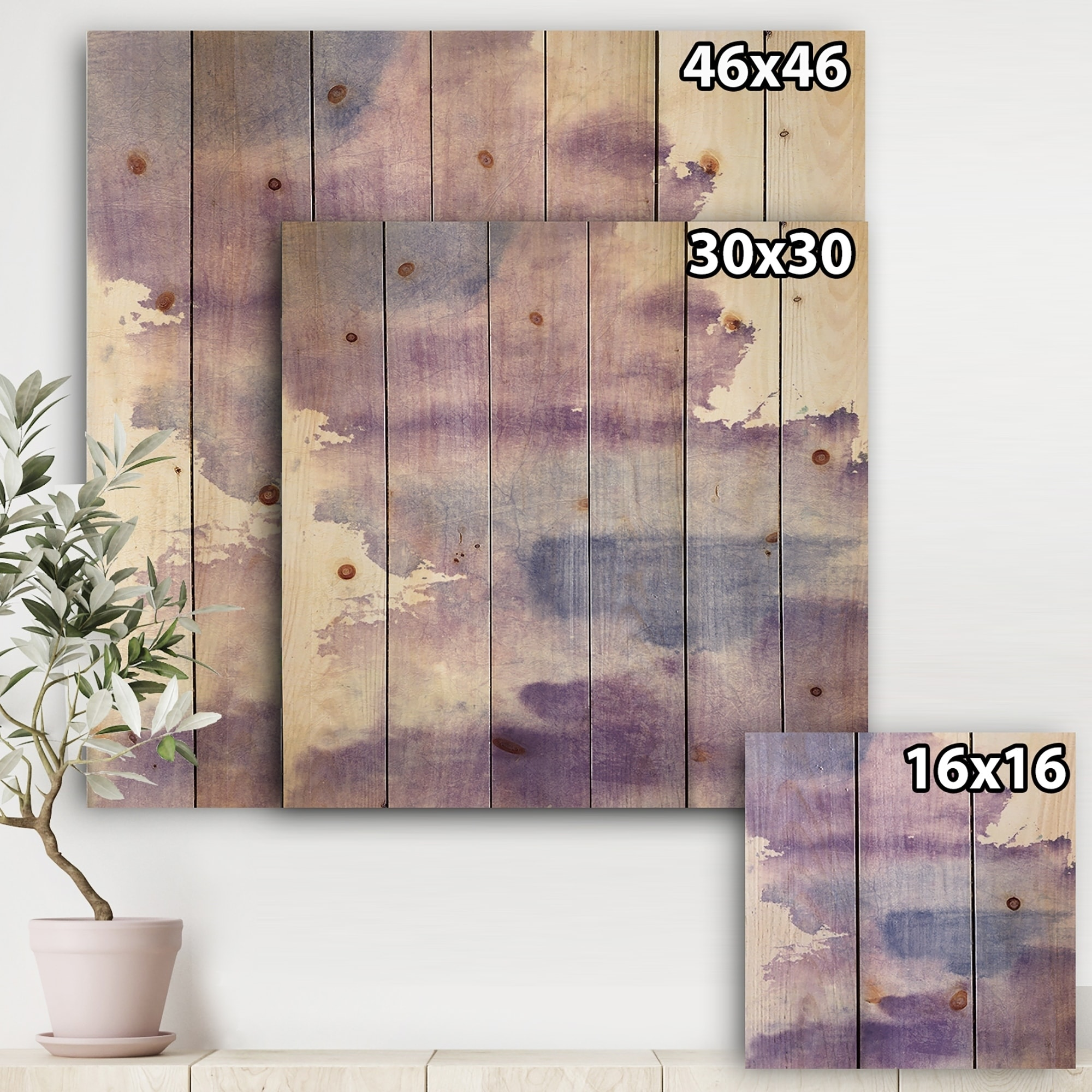 Abstract Wood Wall Art Designart Watercolor Purple Haze I Modern Contemporary Print On Natural Pine Wood