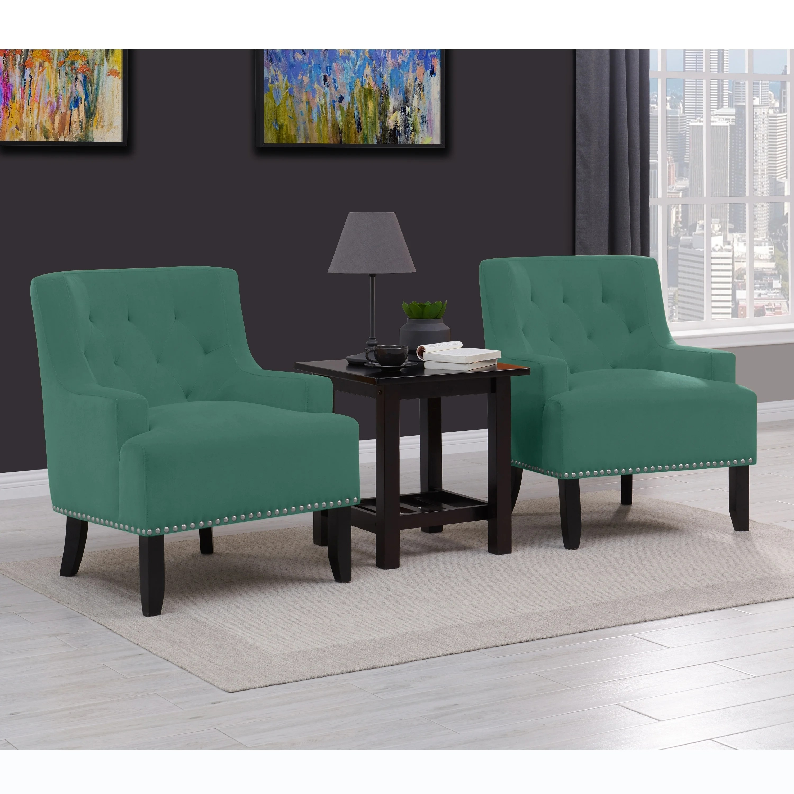 Seats And Sofas Genk Copper Grove Orikum Button Tufted Velvet Arm Chair Set Of 2